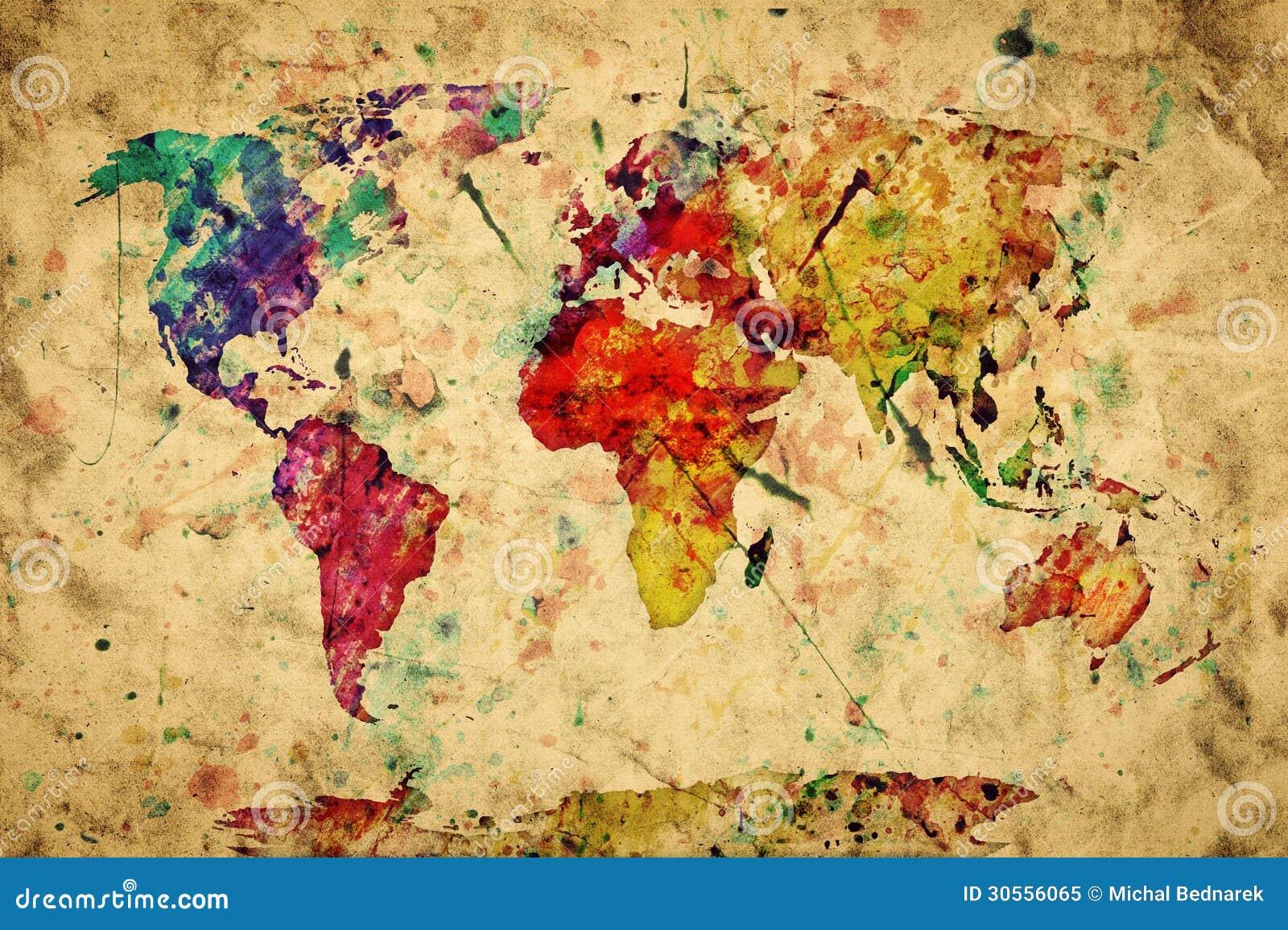 Винтажная карта мира. Цветастая краска