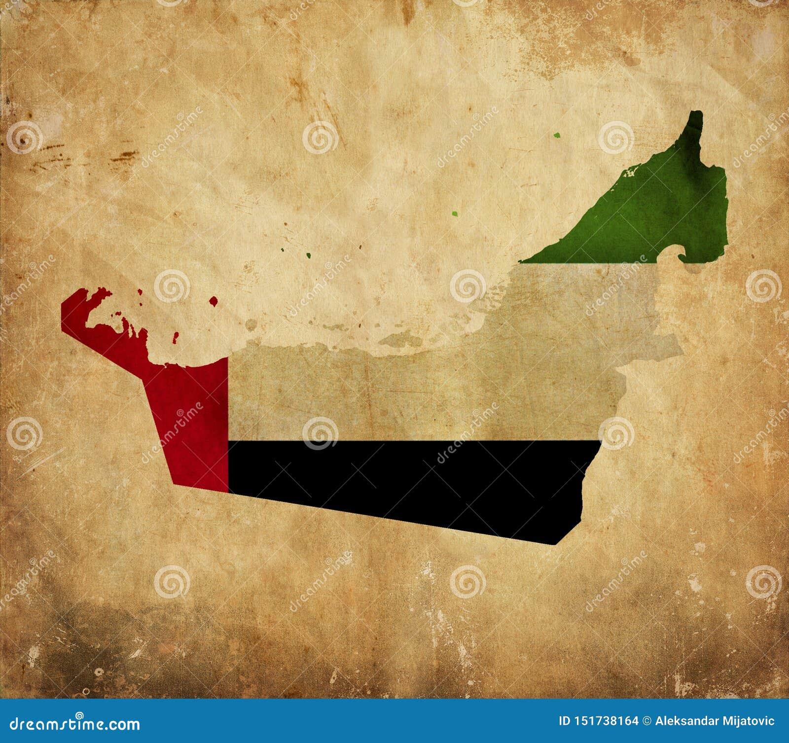 Винтажная карта Объениненных Арабских Эмиратов на бумаге grunge