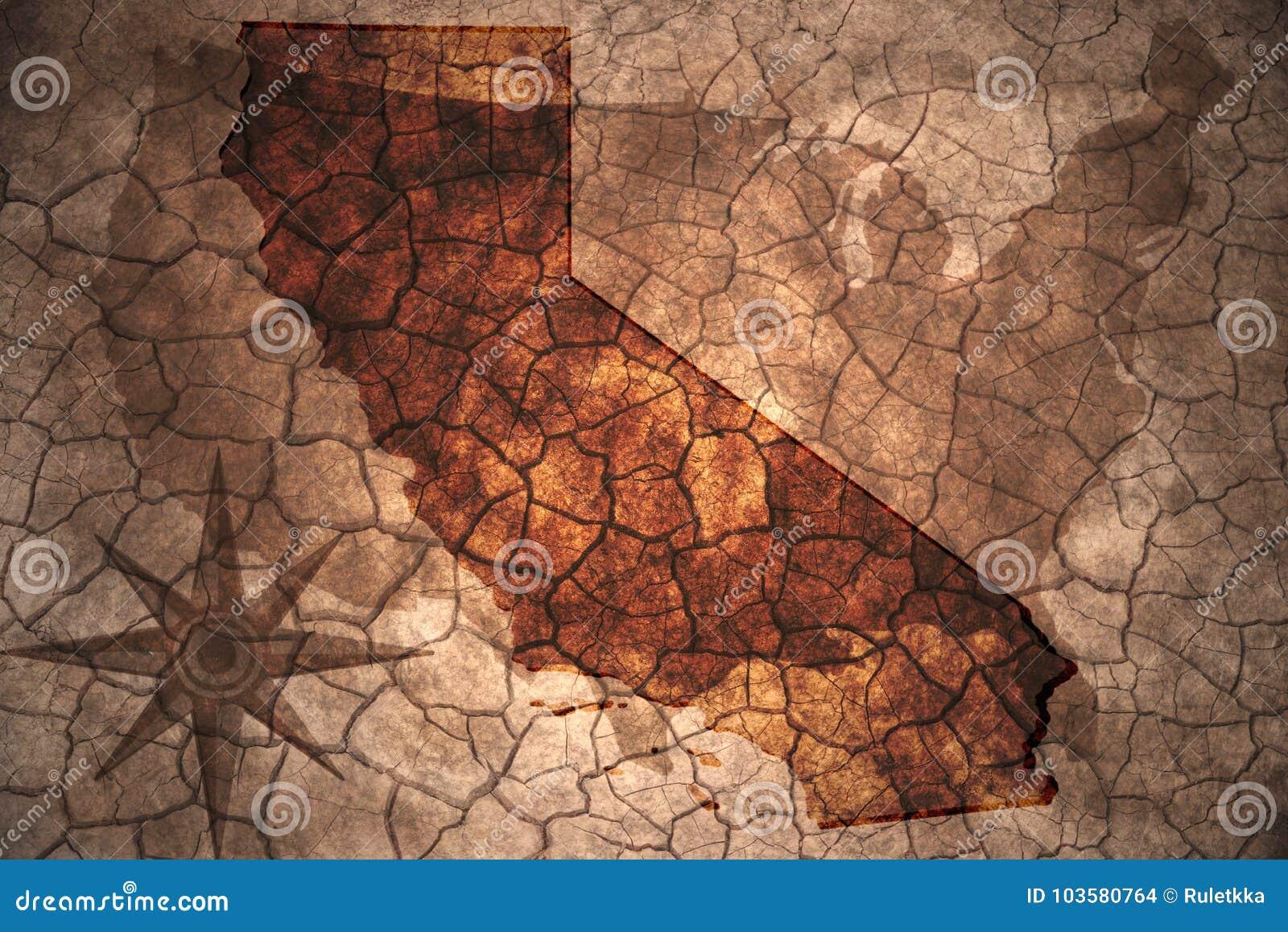 винтажная карта положения Калифорнии