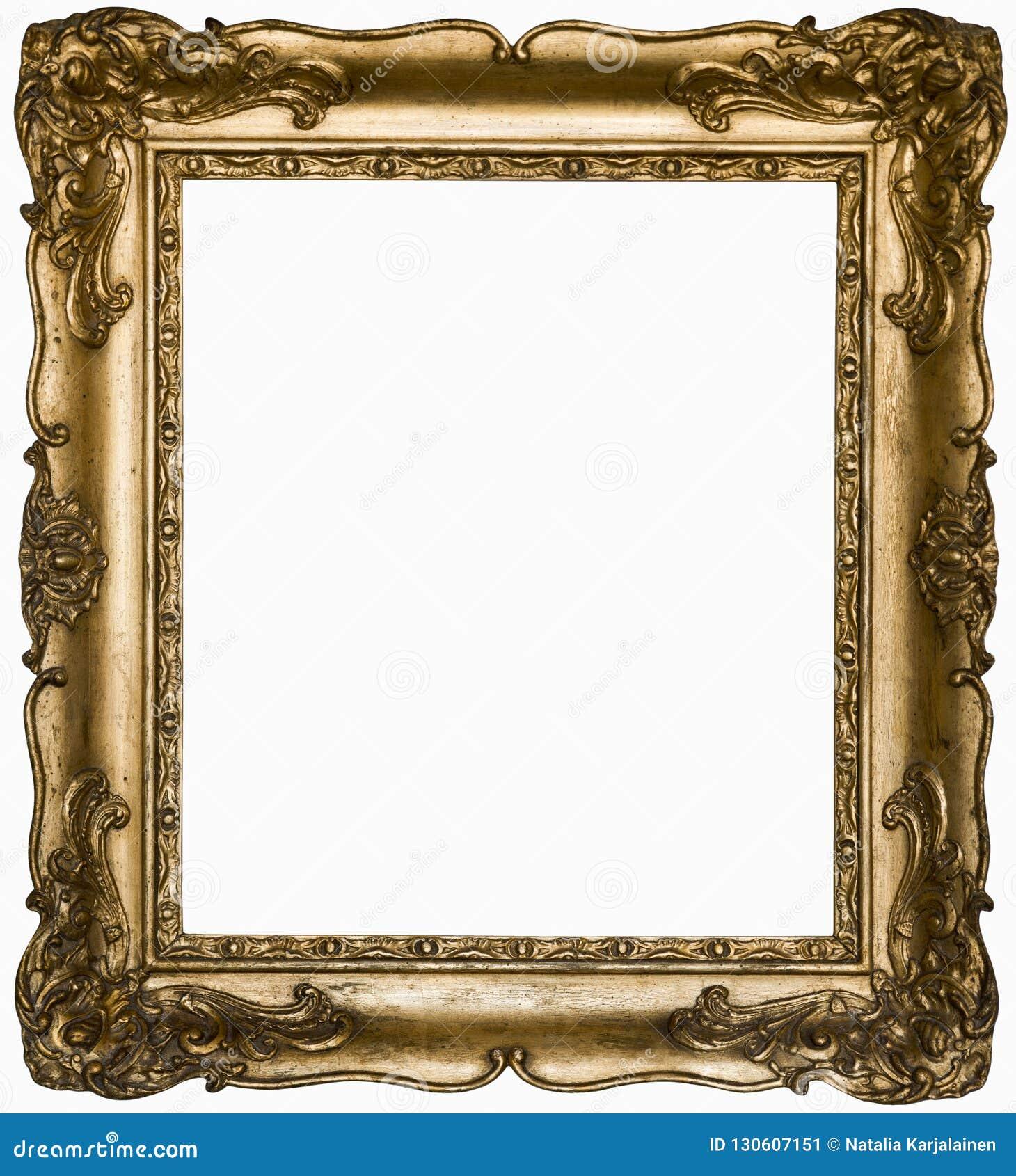Винтажная красивая серебряная прямоугольная рамка с орнаментом изолированным на белизне