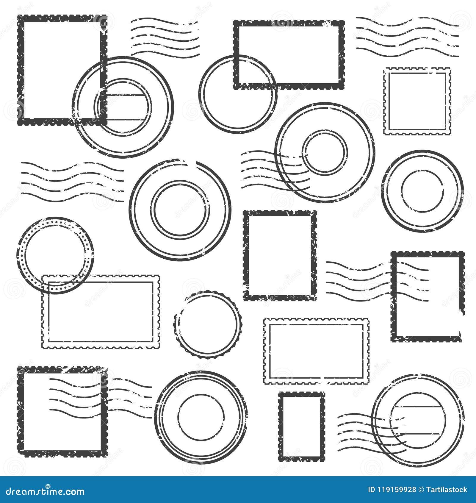 Винтажная печать postmark, почтовый водяной знак, метка штемпеля столба и штемпеля перемещения для конверта изолировали комплект