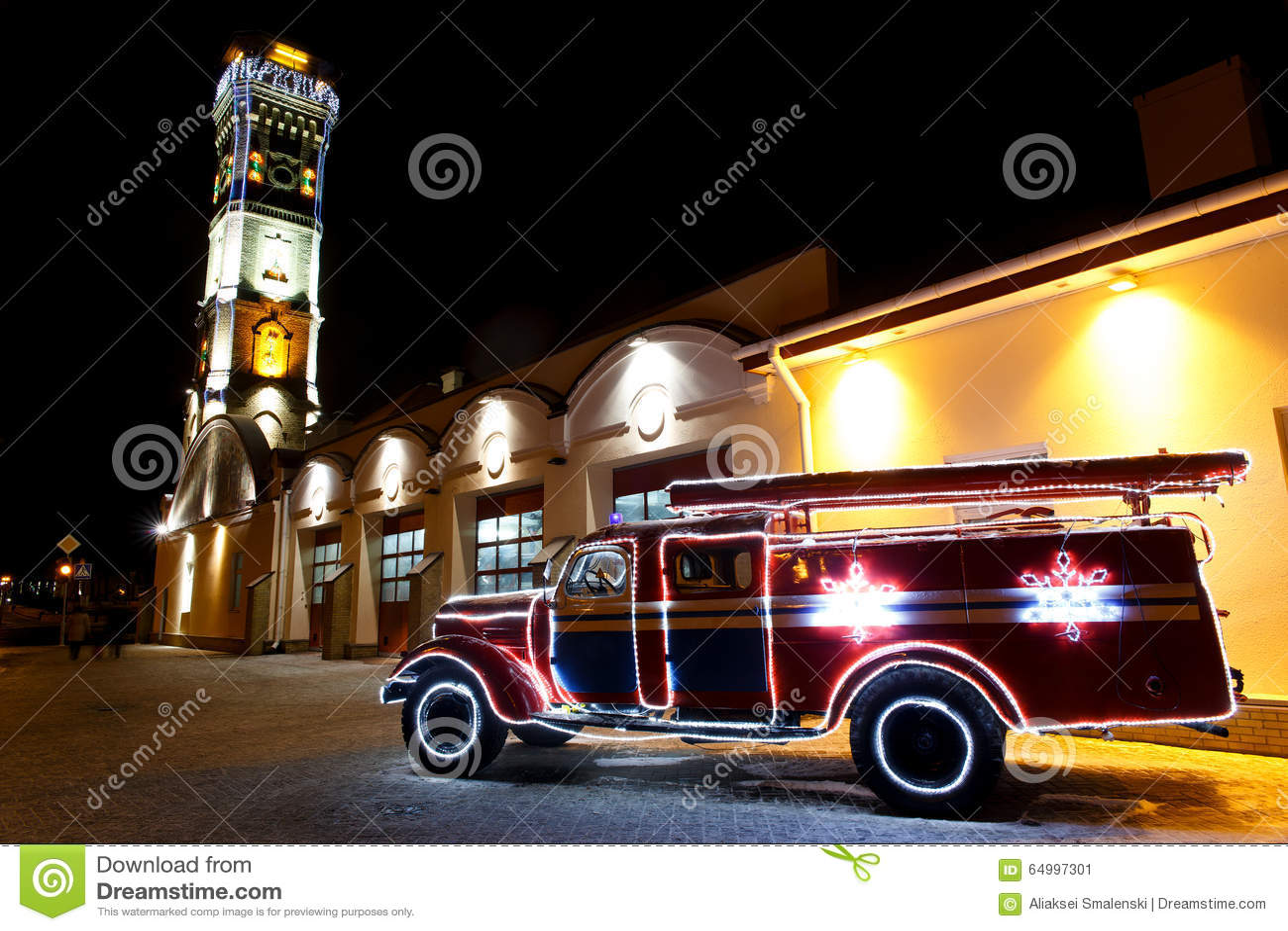 Винтажная пожарная машина
