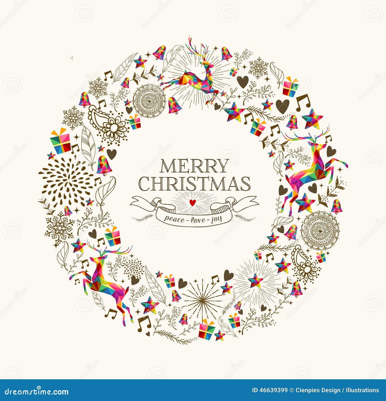 Винтажная поздравительная открытка венка рождества