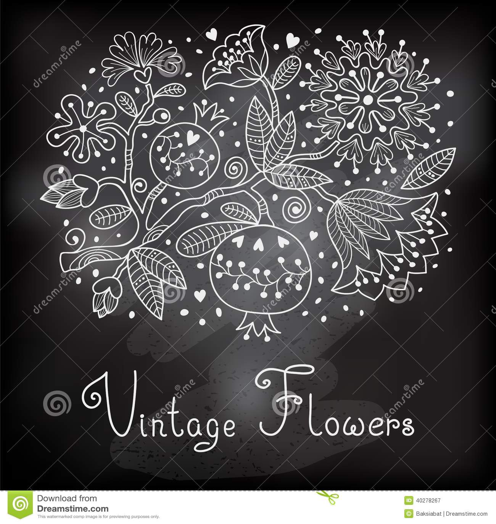 Винтажная праздничная карточка с цветками и гранатовым деревом.