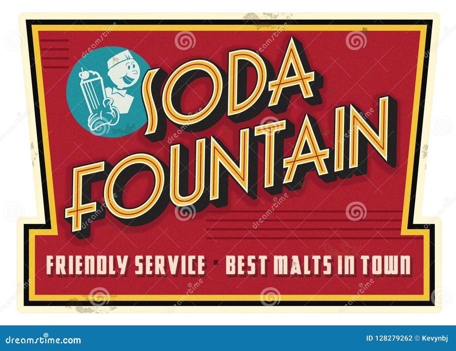 Винтажная ретро реклама знака солода обслуживания фонтана соды