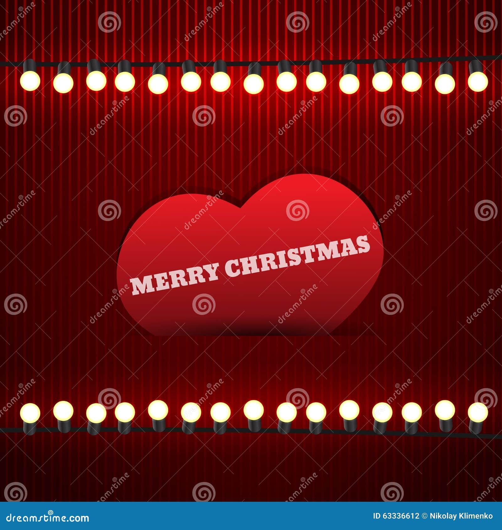 Винтажная рождественская открытка с гирляндой и сердцем Иллюстрация EPS