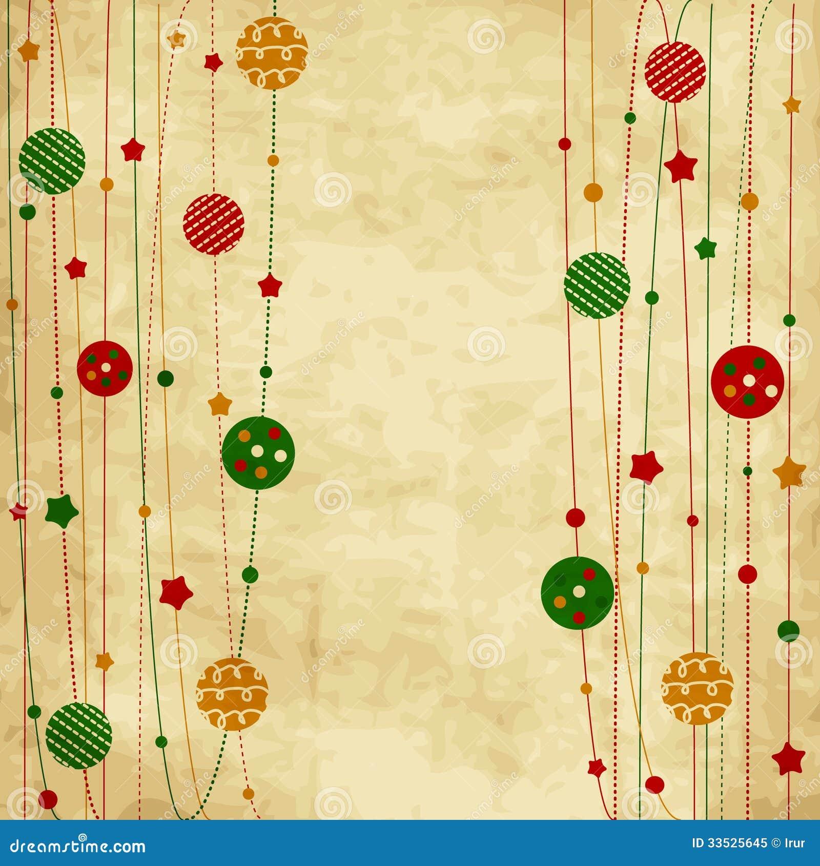 Винтажная рождественская открытка с шариками и звездами xmas