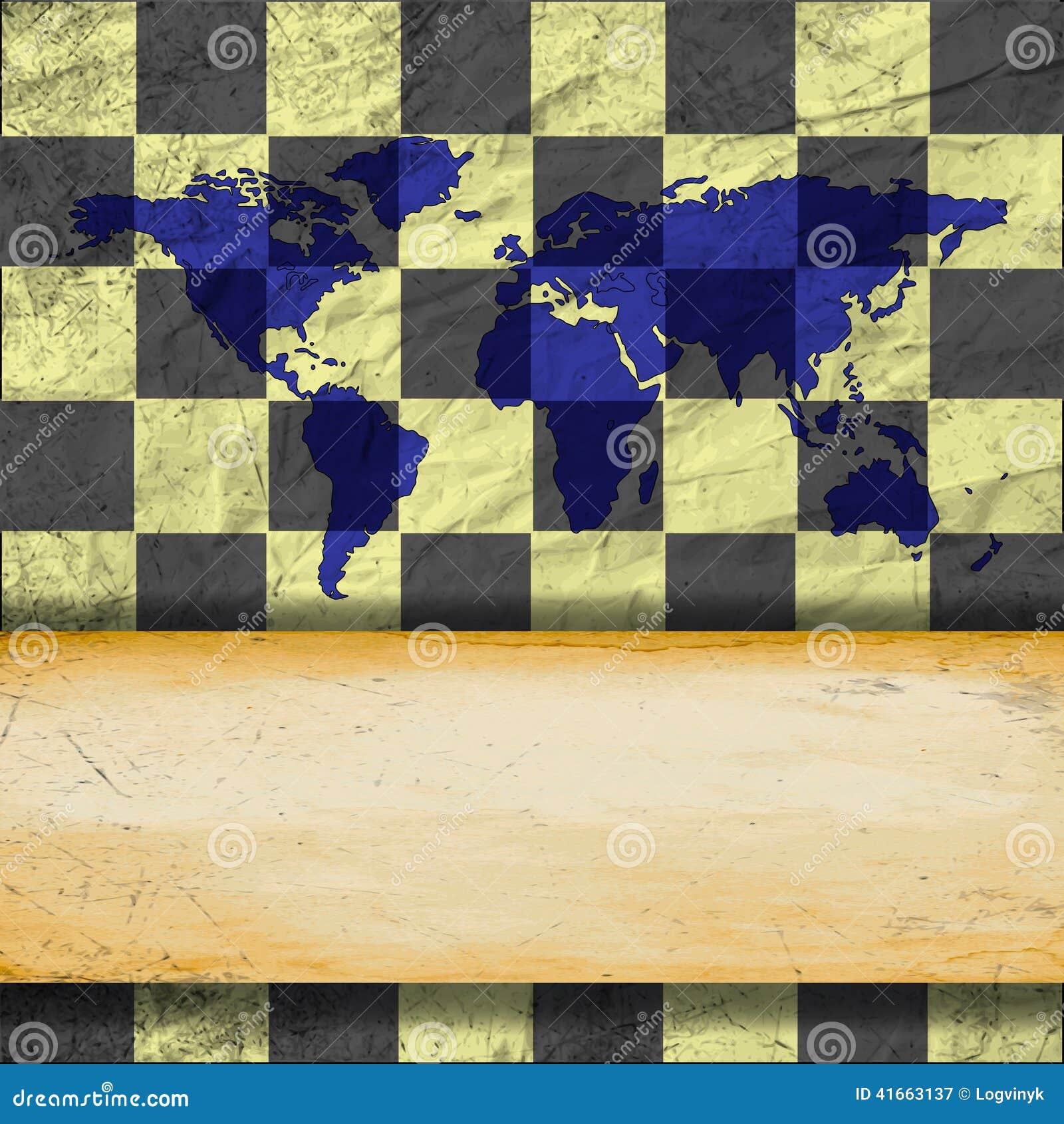 Винтажная старая поцарапанная пустая шахматная доска