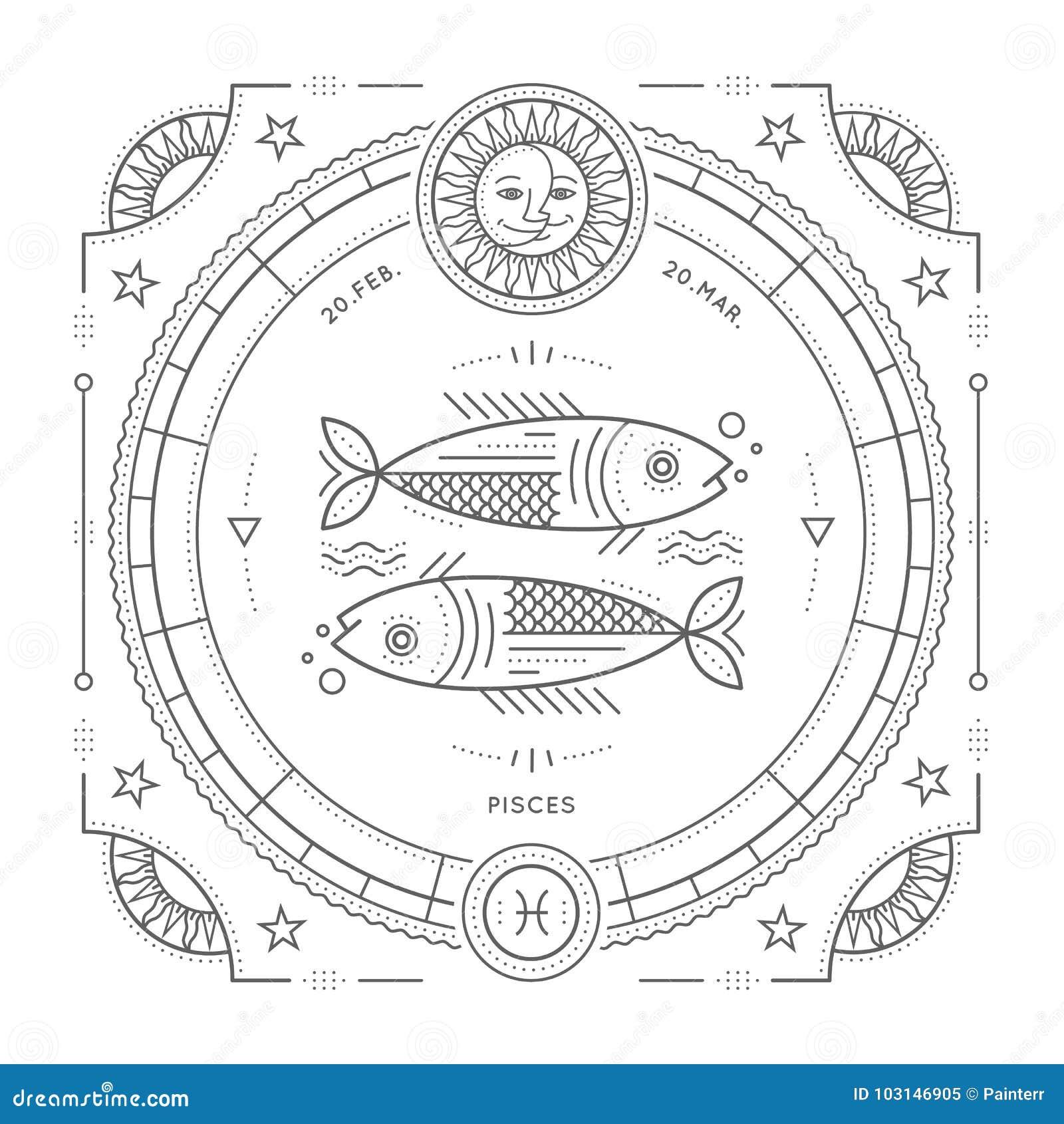 Винтажная тонкая линия ярлык знака зодиака Pisces Символ ретро вектора астрологический