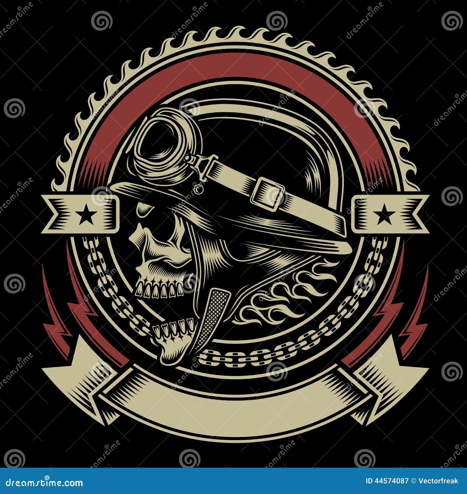 Винтажная эмблема черепа велосипедиста
