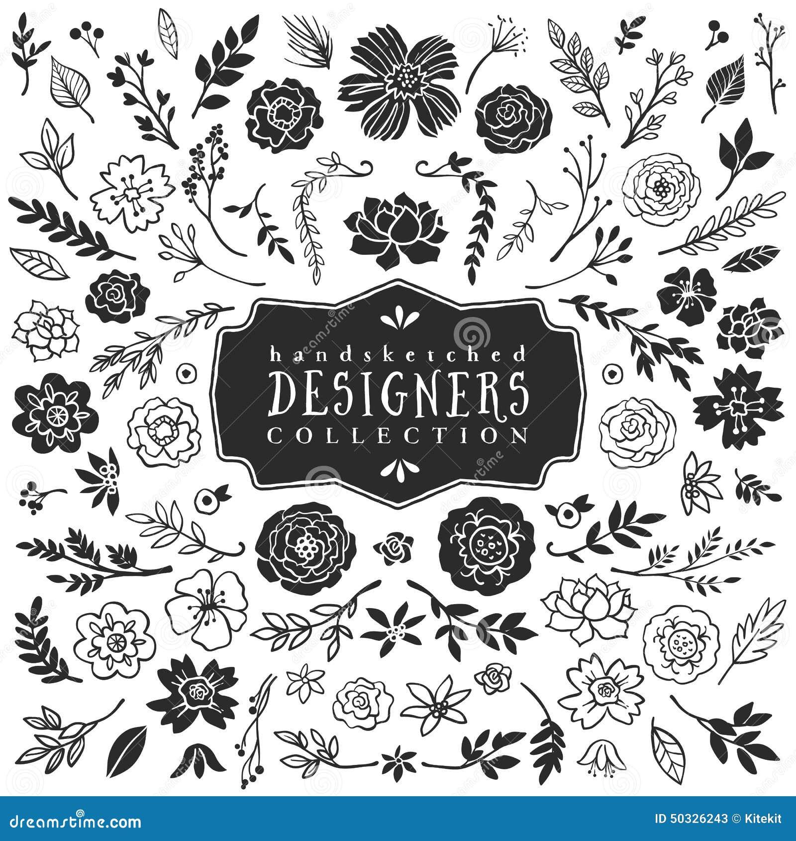 Винтажное декоративное собрание заводов и цветков вычерченная рука