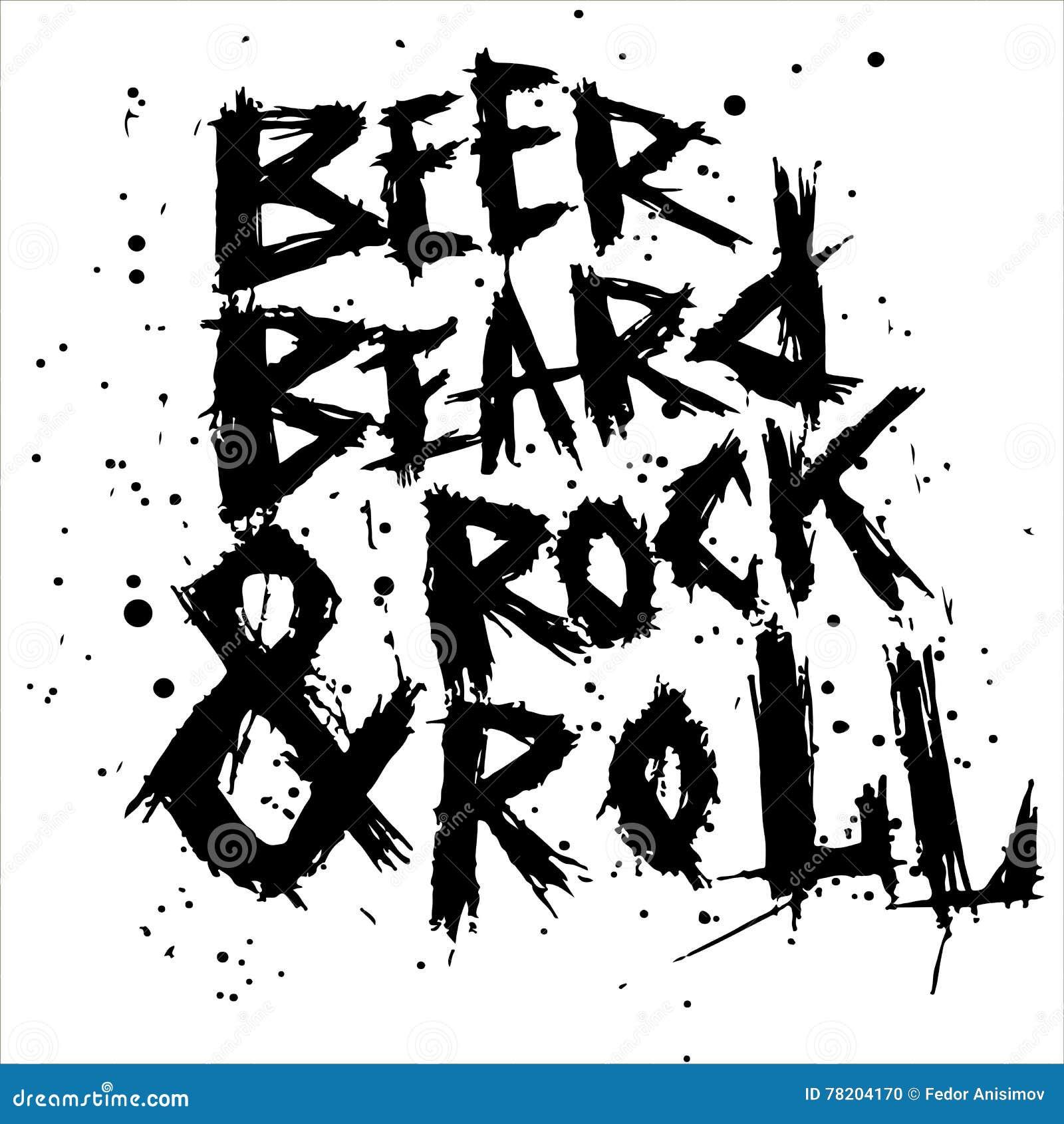 Винтажное пиво, борода и утес плаката свертывают - уникально литерность нарисованную рукой