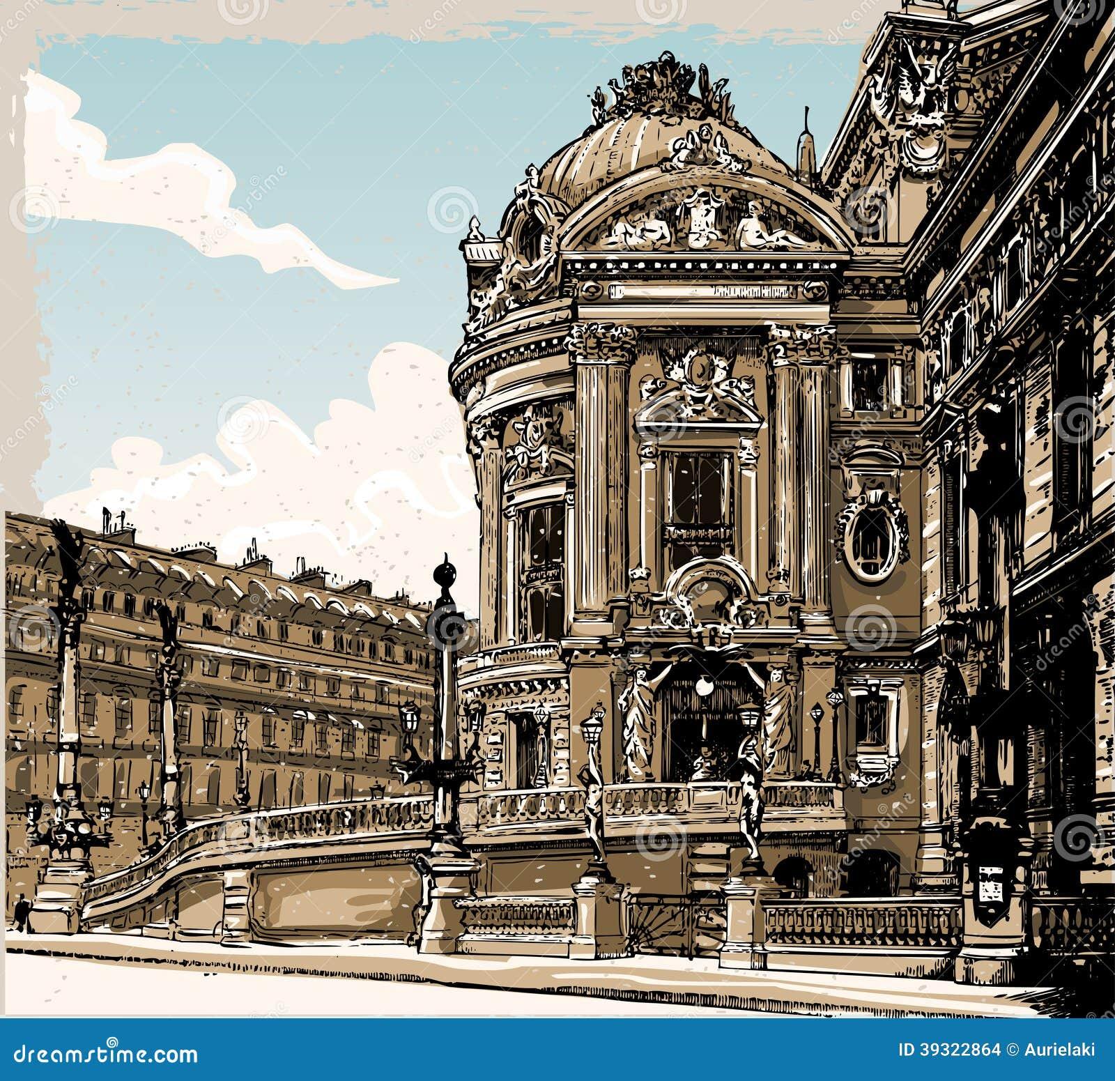 Винтажной взгляд нарисованный рукой оперы в Париже