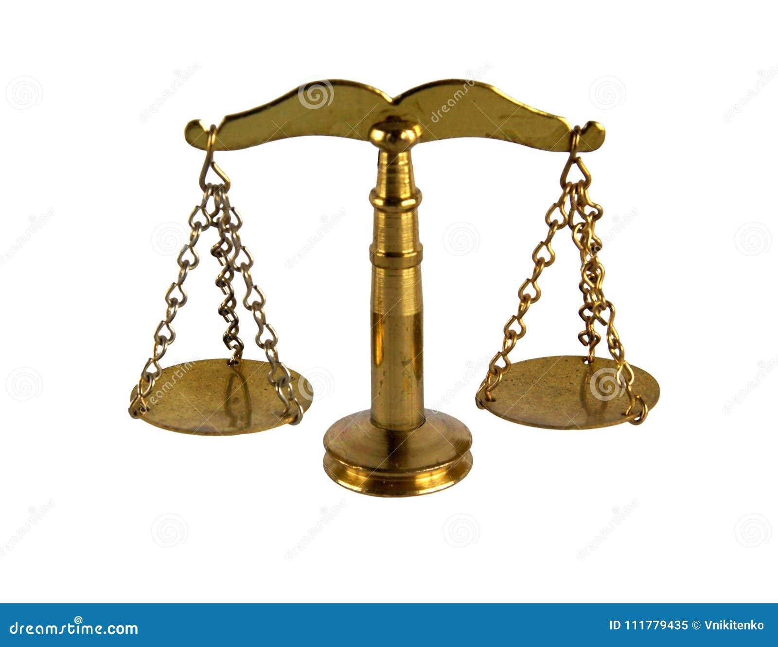 Винтажные латунные весы правосудия