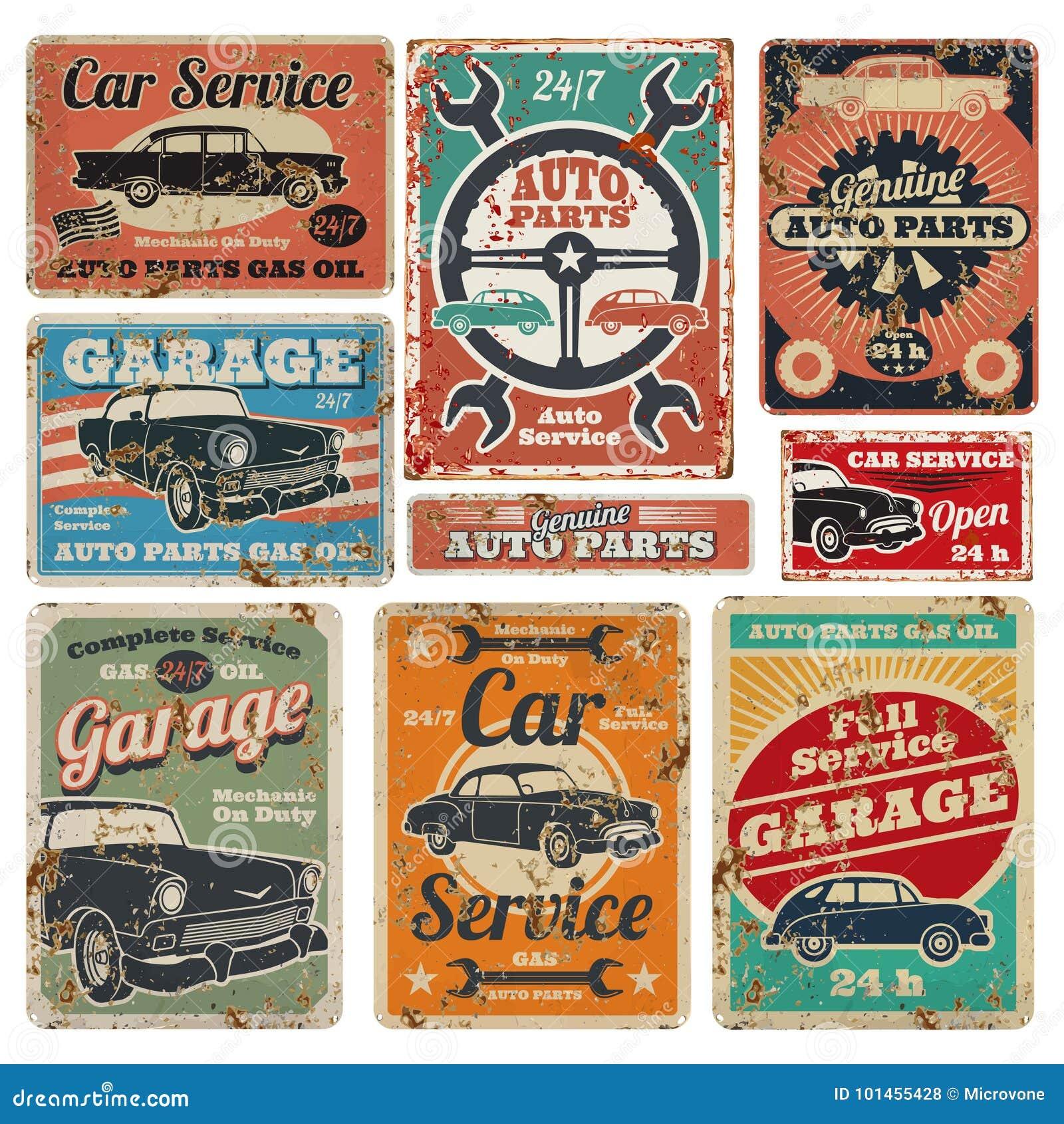 Винтажные ремонтные услуги дорожного транспортного средства, гараж и реклама механика автомобиля vector знаки металла