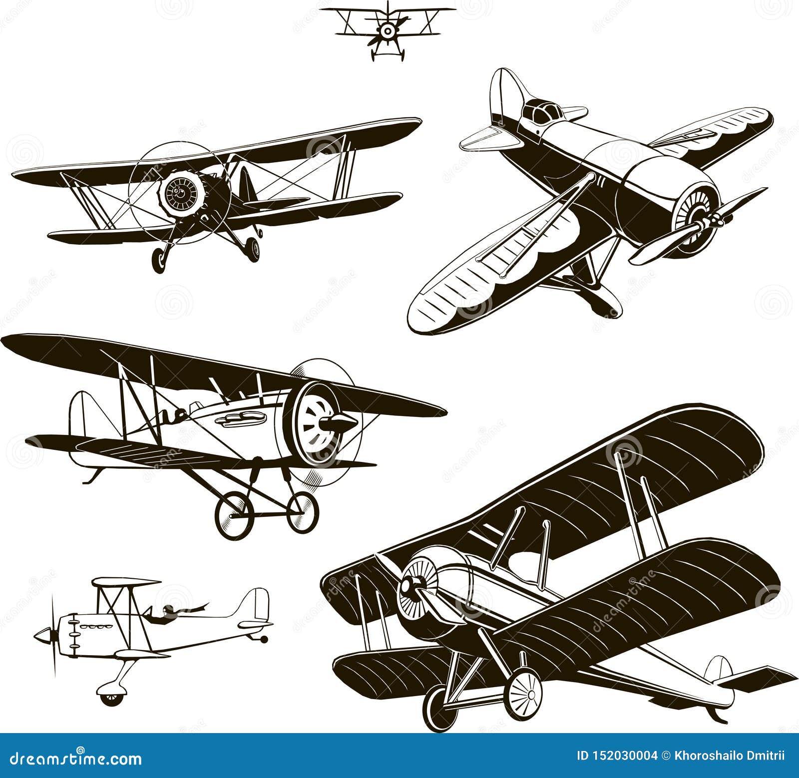 Винтажные самолет-бипланы установили черноту вектора старый, логотип, эмблема, ярлык