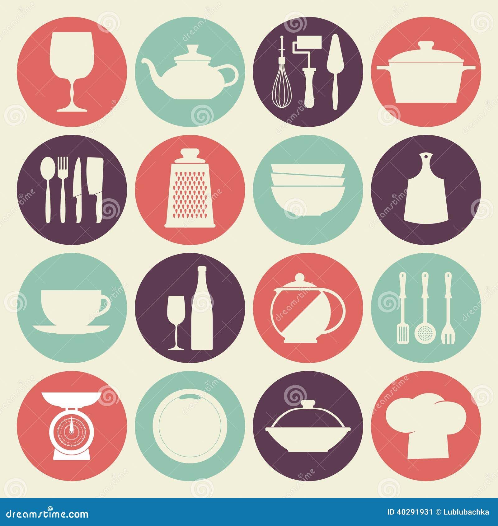 Винтажные установленные значки блюд кухни