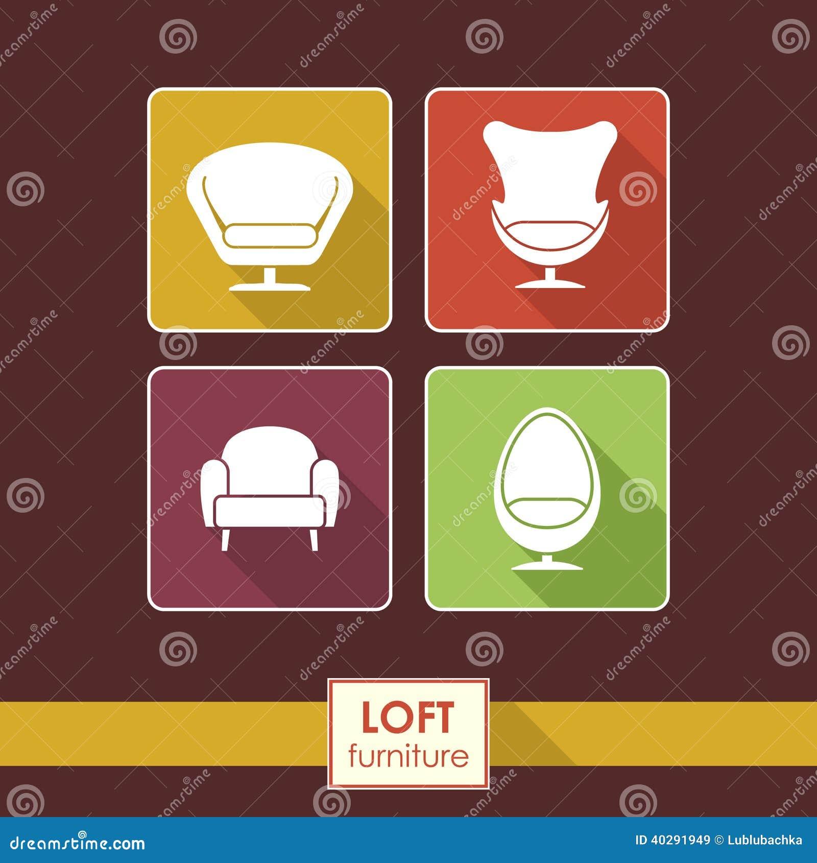 Винтажные установленные значки кресла вектора. Концепция мебели просторной квартиры