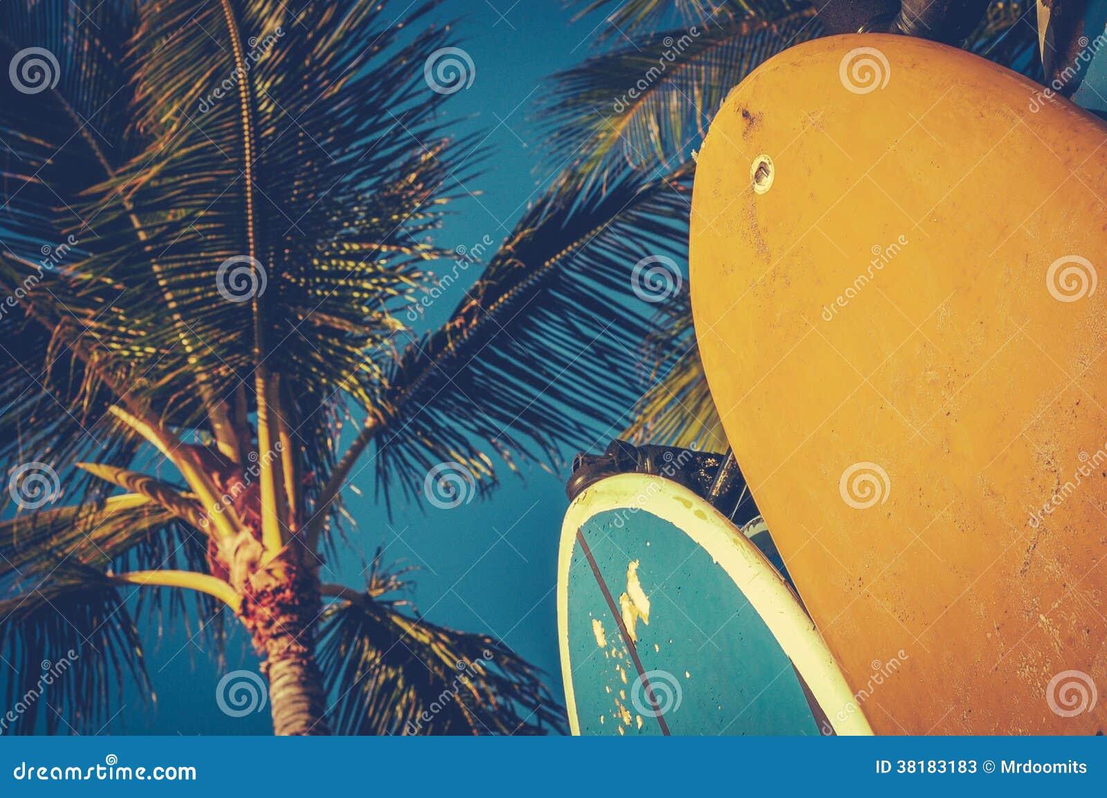 Винтажные Surfboards и ладони