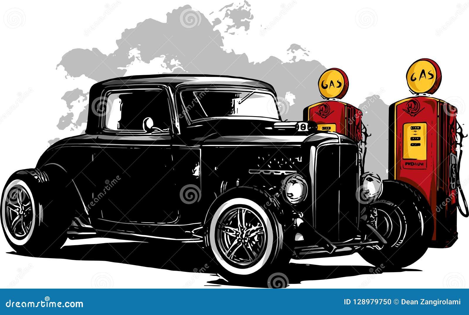 Винтажный автомобиль, гараж горячей штанги, автомобиль hotrods, автомобиль старой школы,