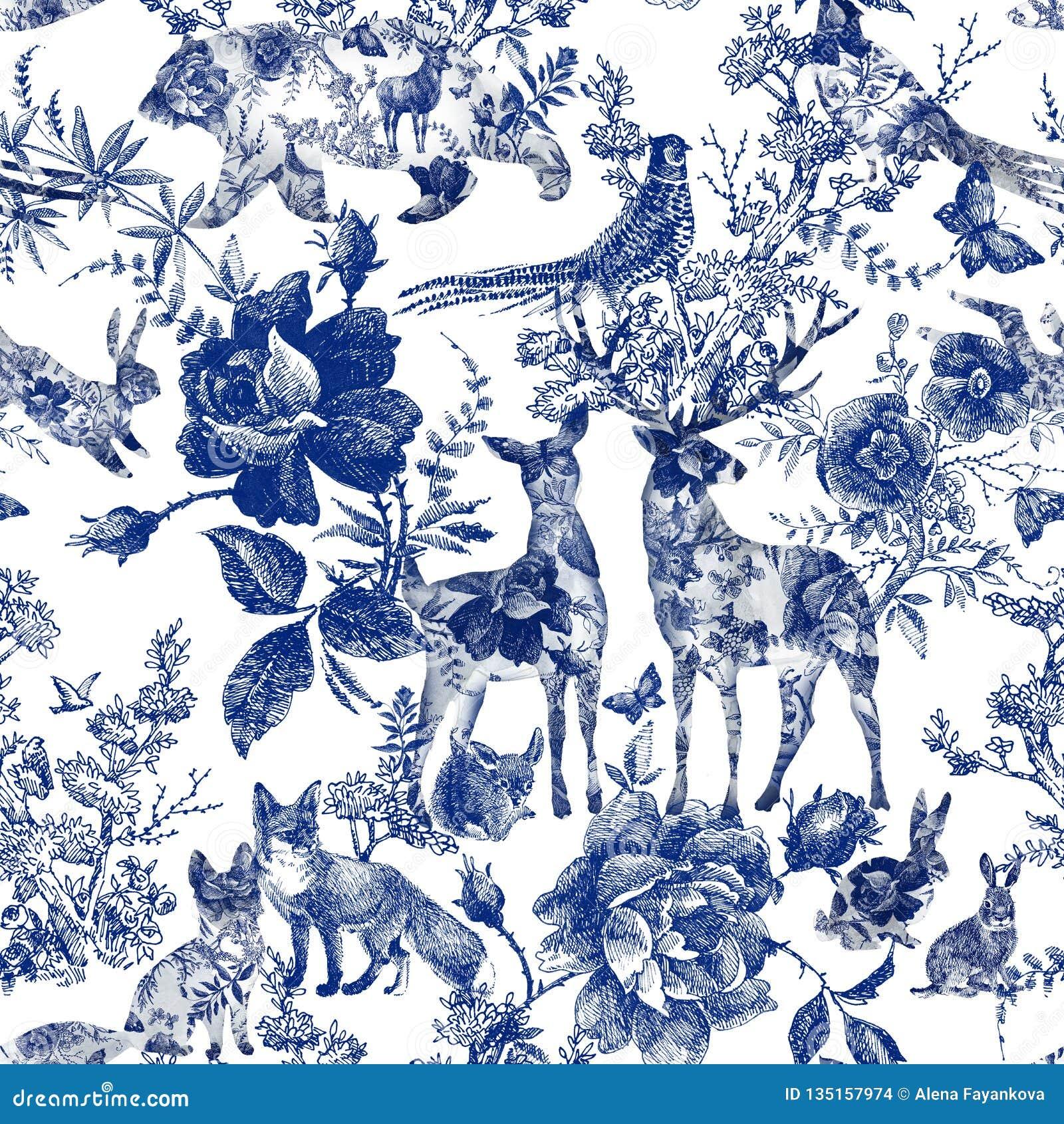 Винтажный безшовный дизайн с флористическим и диким животным Розы картины руки леса сказки вычерченные цветут линия графики