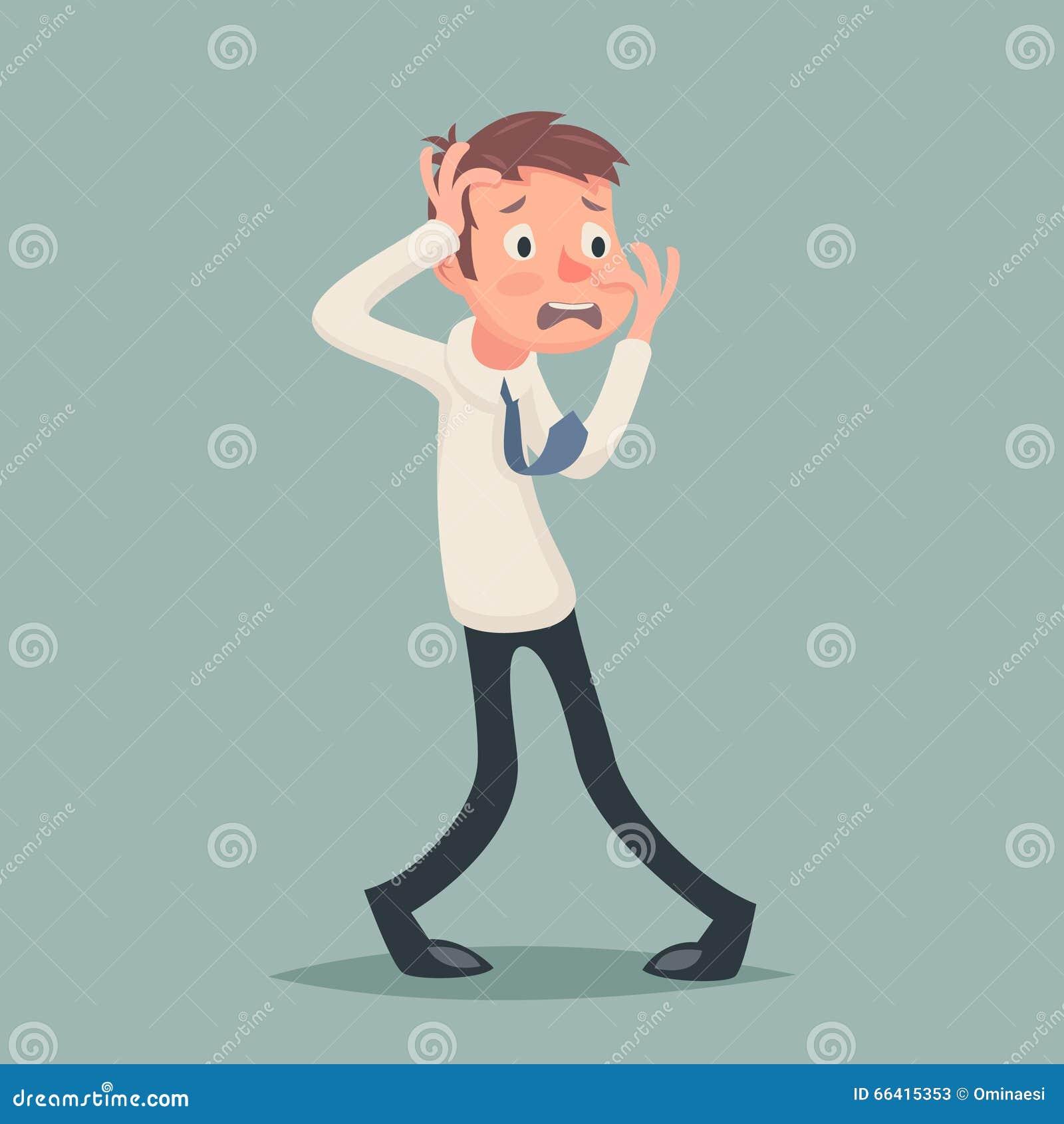 Винтажный бизнесмен страдает значок характера стресса депрессии ужаса страха эмоции на шарже стильной предпосылки ретро