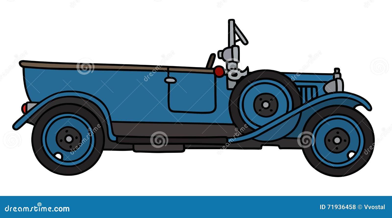 Винтажный голубой автомобиль с откидным верхом
