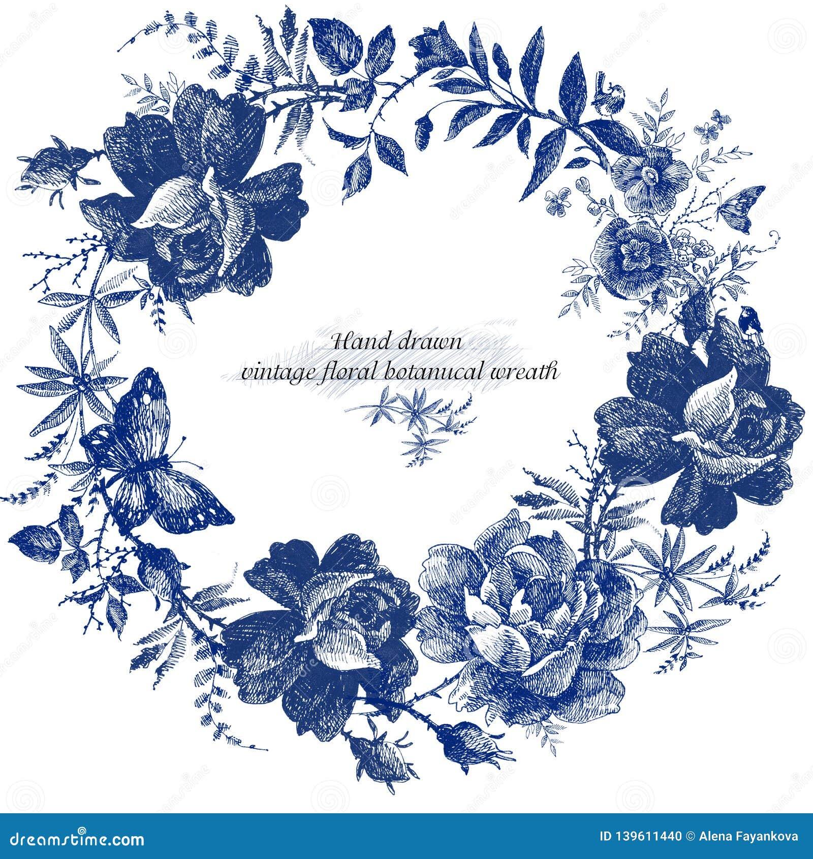 Винтажный дизайн венка с ретро розами цветет график Линия иллюстрация цветка руки леса сказки вычерченная