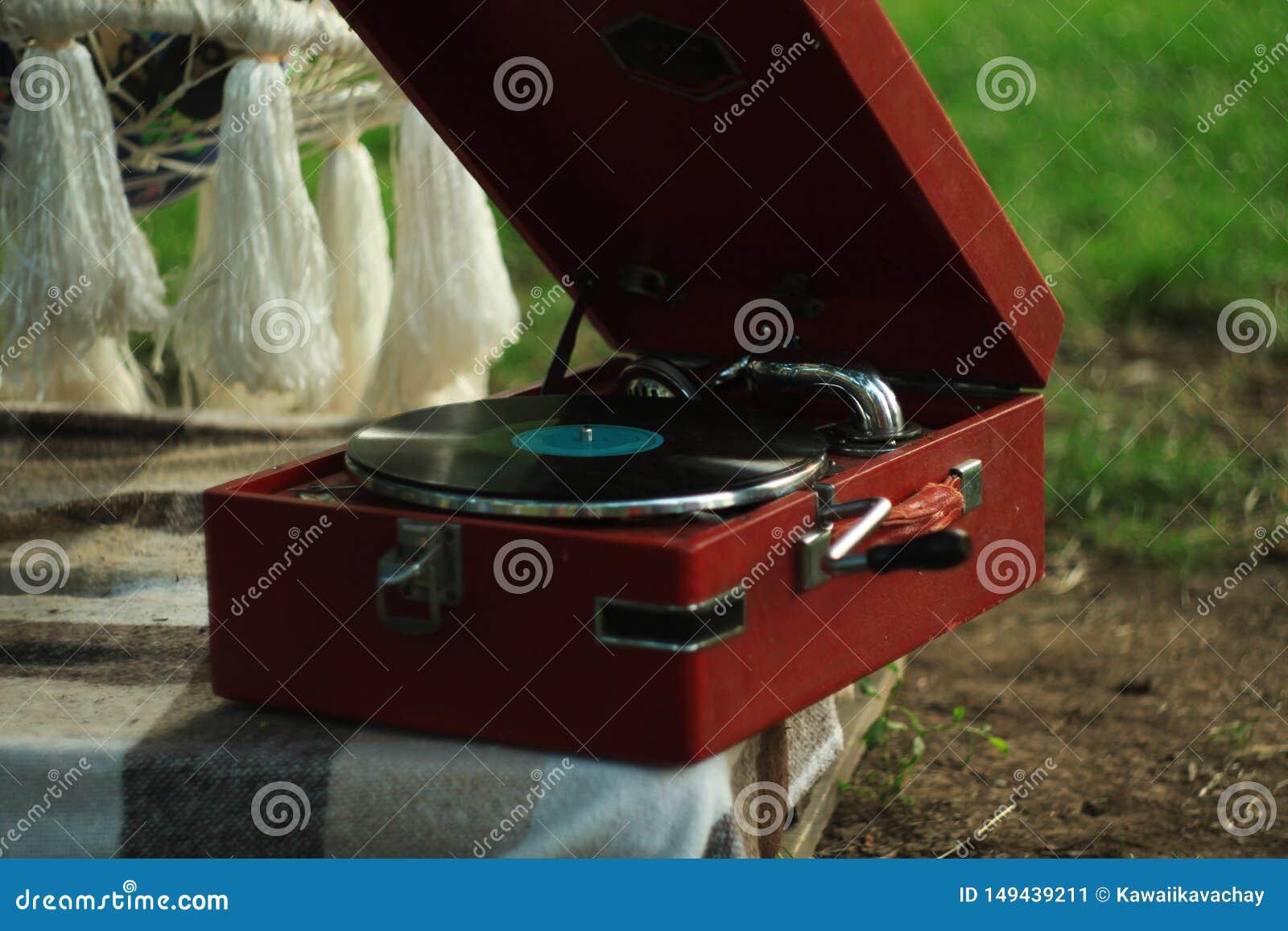 Винтажный игрок винила turntable рекордный на предпосылке природы Деревянный плинтус Ретро звуковое оборудование