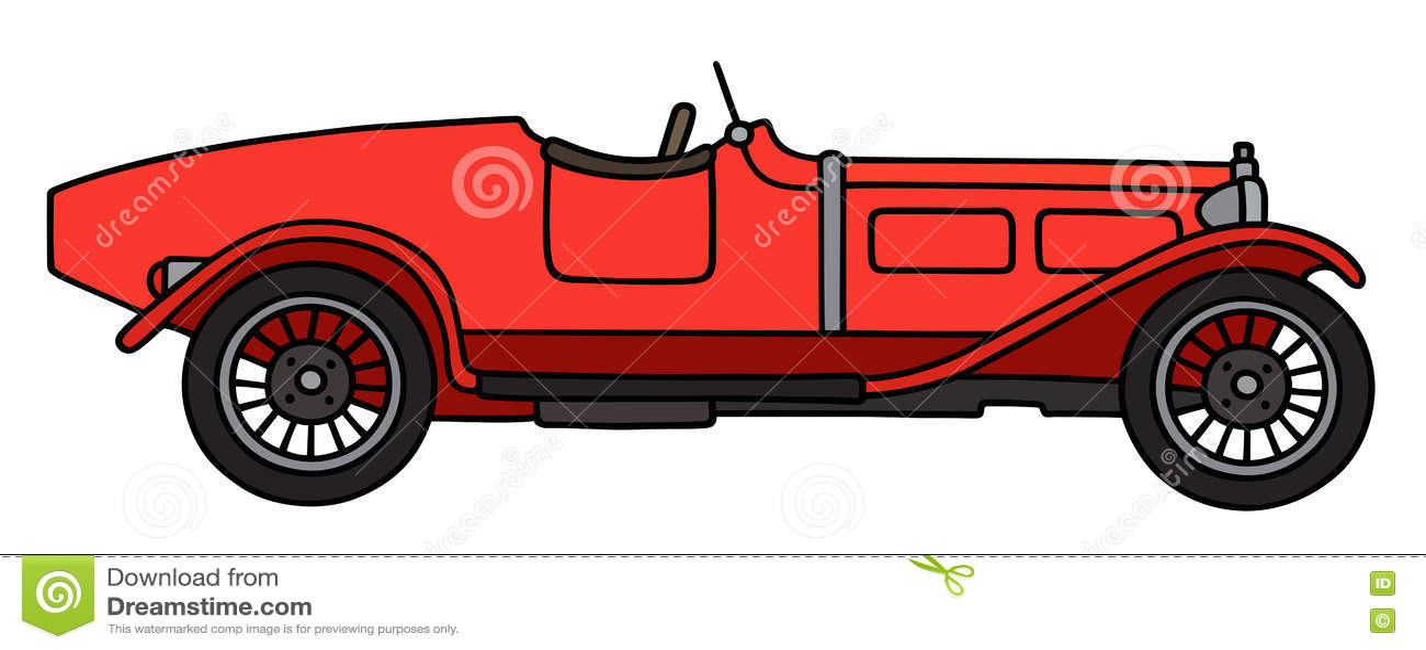 Винтажный красный родстер