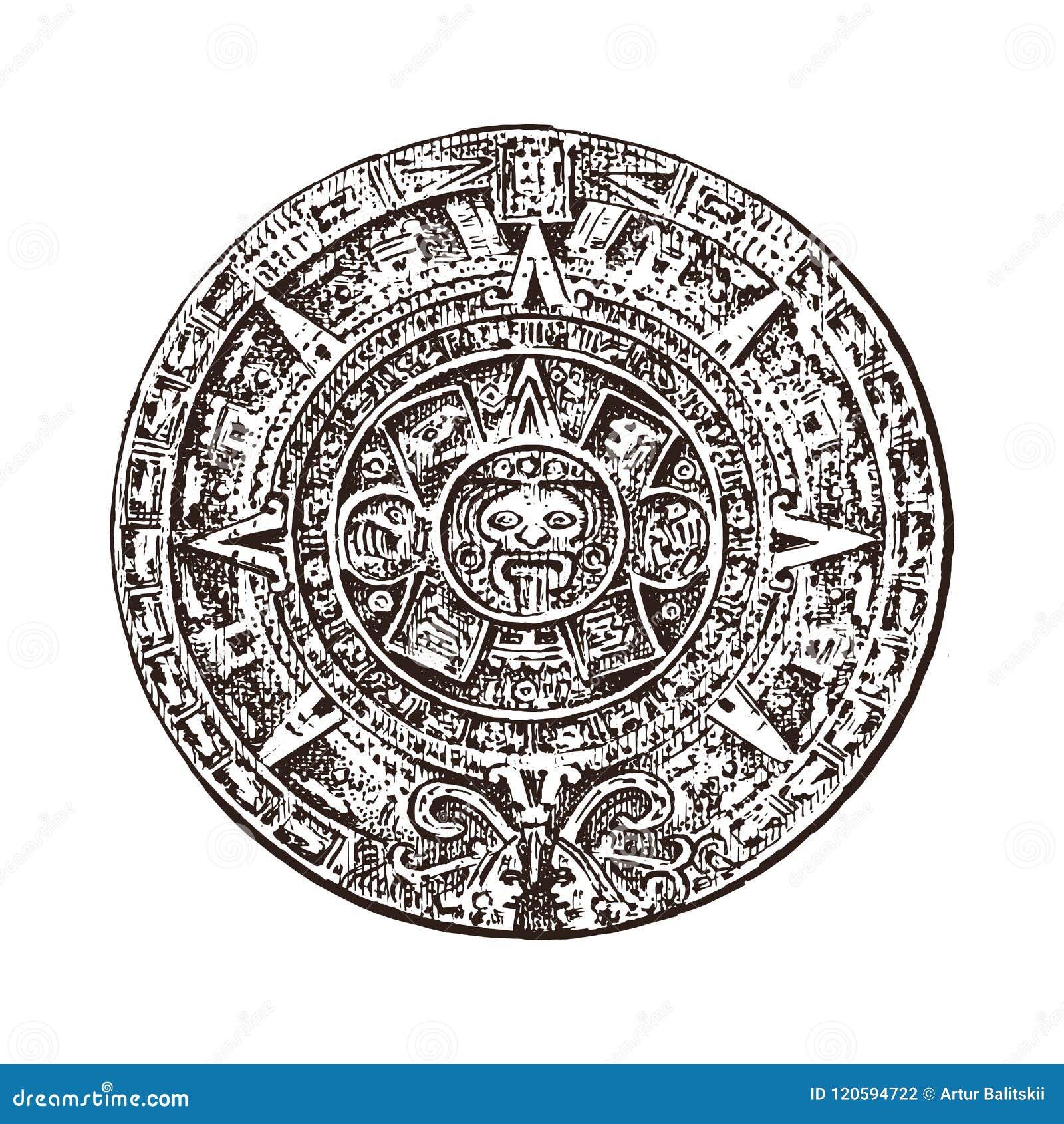 Винтажный майяский календарь традиционная родная ацтекская культура Старая Monochrome Мексика Американские индейцы выгравированна