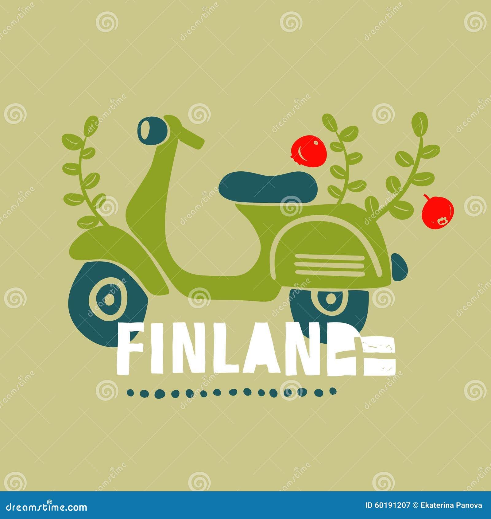 Винтажный самокат, путешествуя в Финляндии