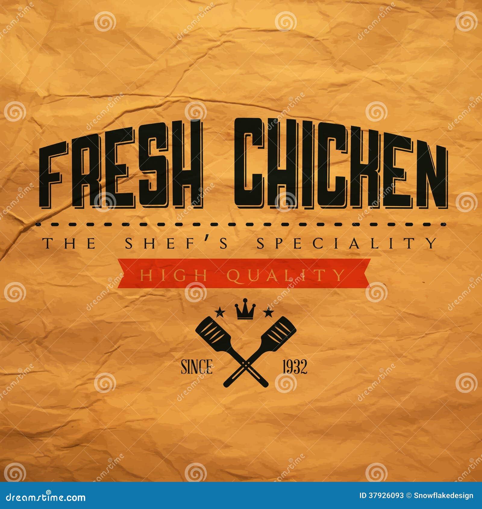 Винтажный свежий ярлык цыпленка
