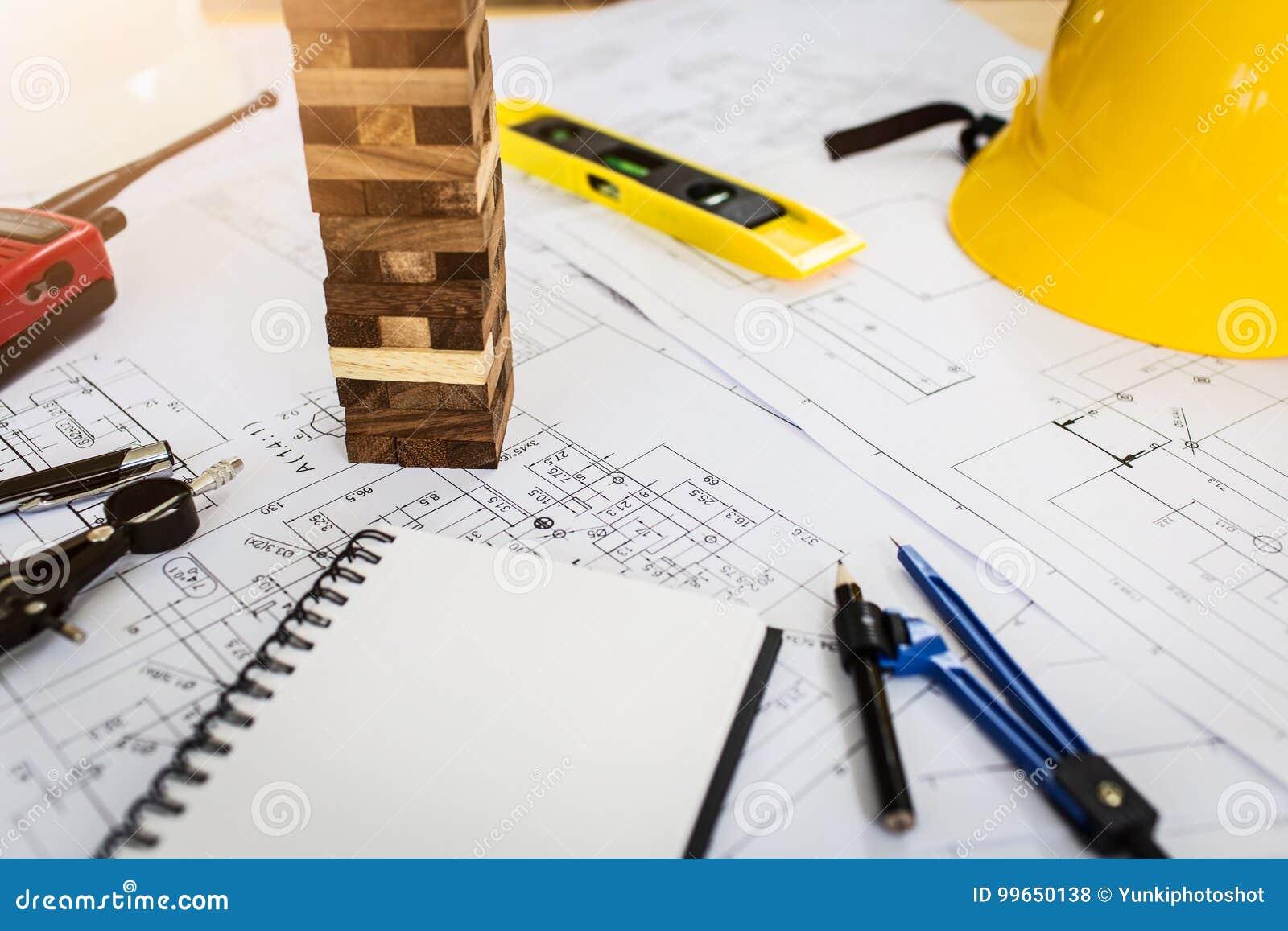 Винтажный стол дела подрядчика инженера