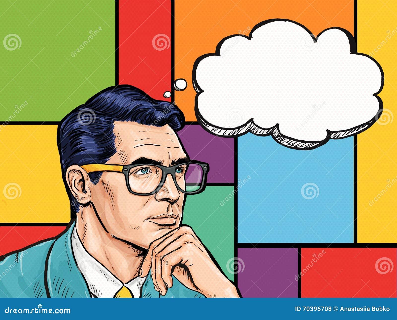 Винтажный думая человек искусства шипучки с пузырем мысли Приглашение партии Человек от комиксов Клуб джентльмена думайте, подума