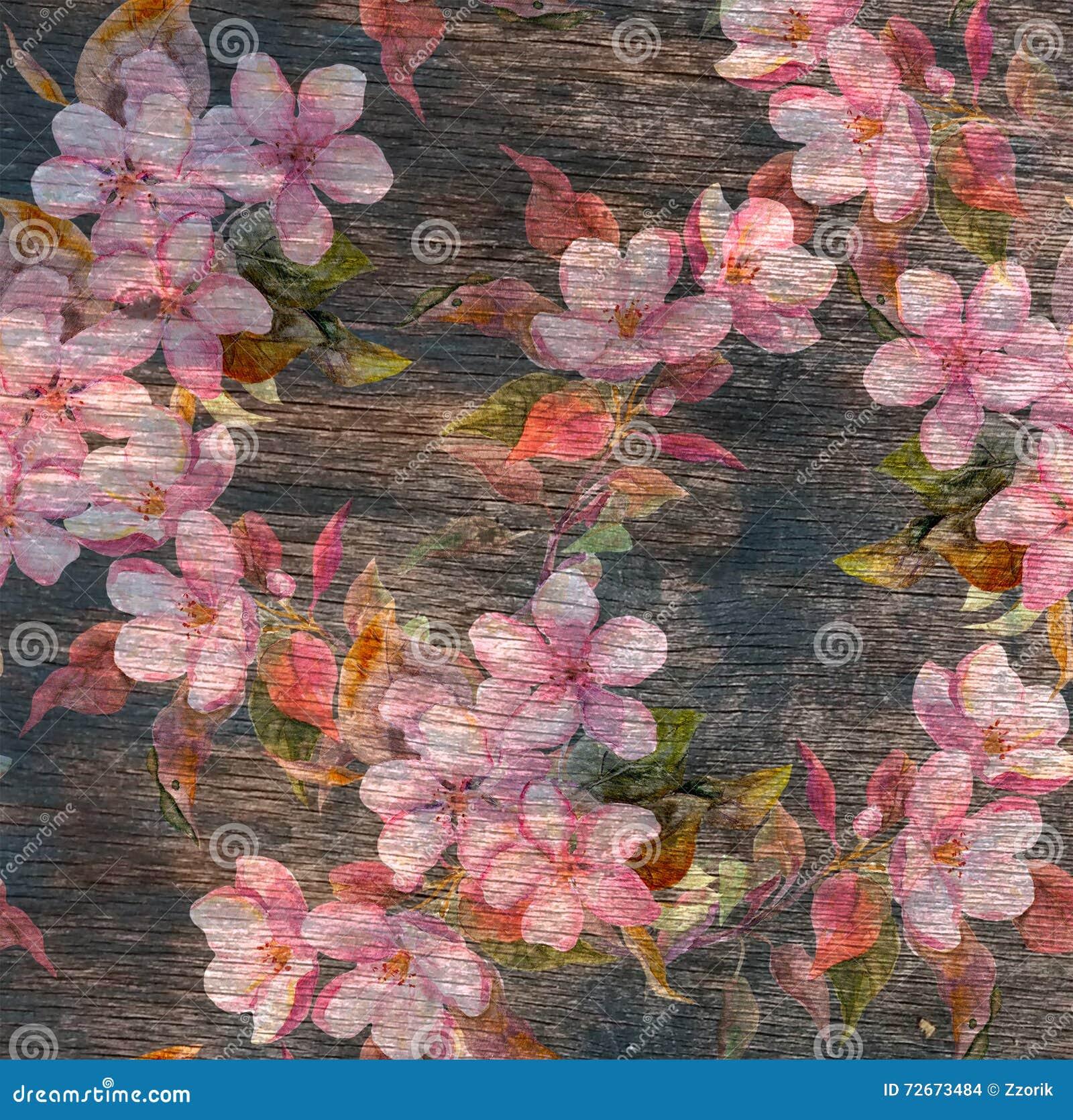 Винтажный цветочный узор - розовые цветки, старая деревянная текстура акварель