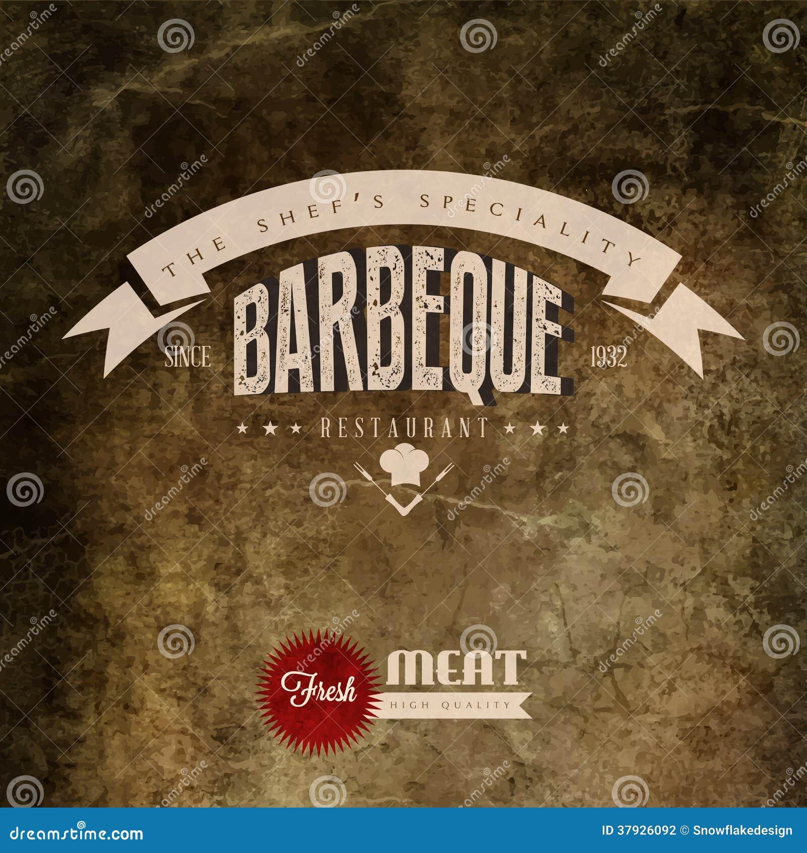 Винтажный ярлык гриль-ресторана BBQ