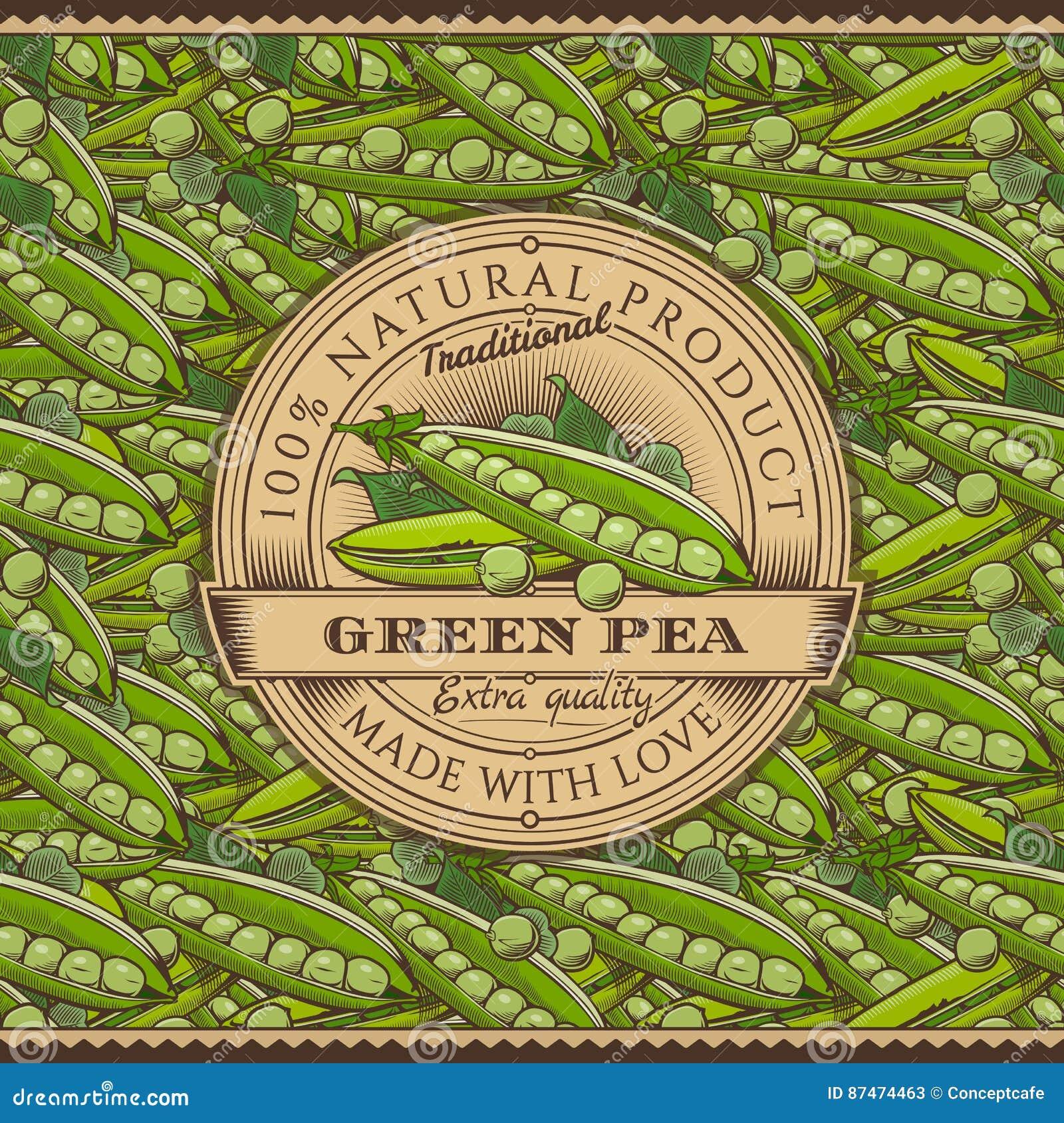 Винтажный ярлык зеленых горохов на безшовной картине