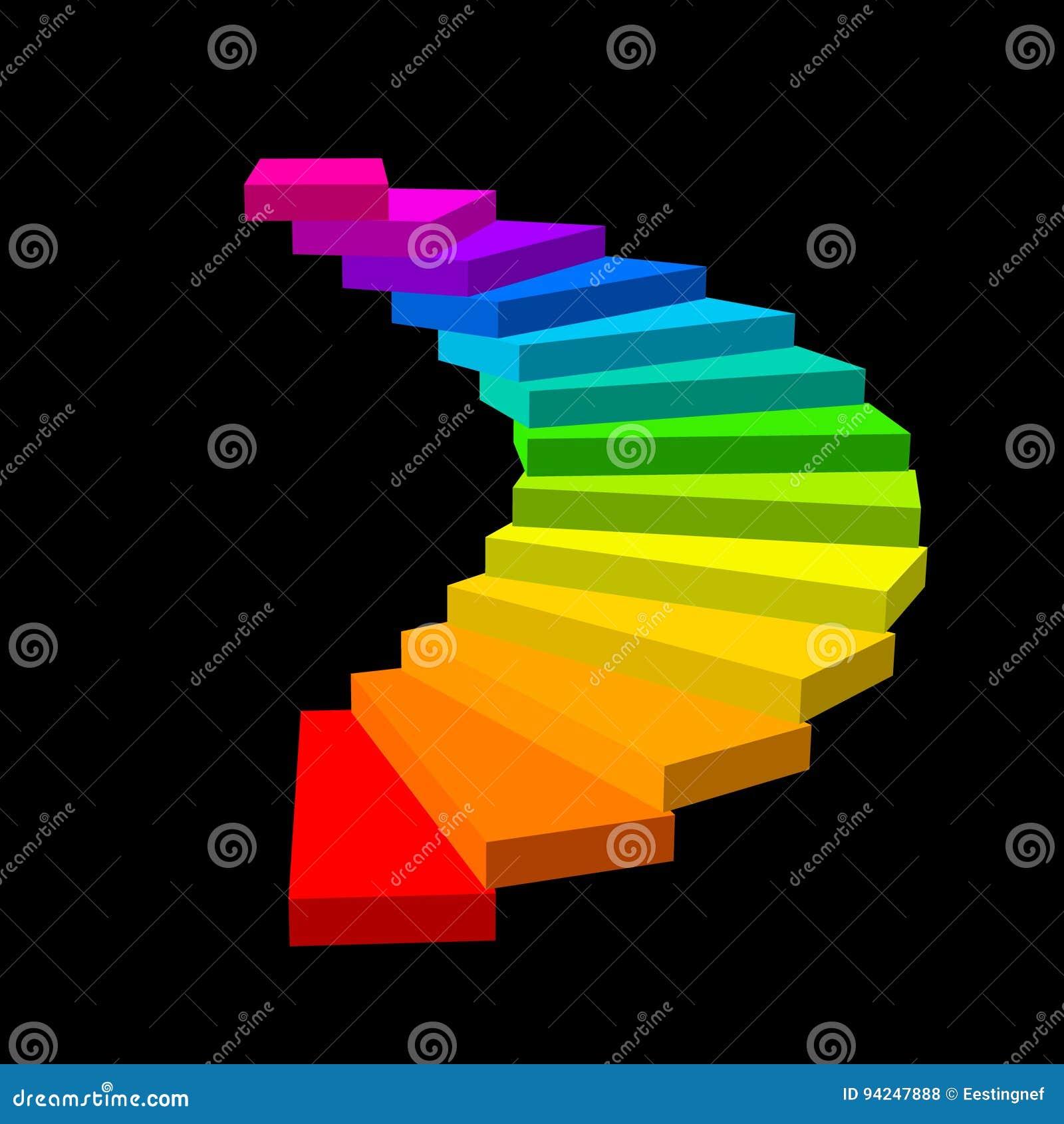винтовая лестница Изолировано на черной предпосылке colorfu вектора 3d