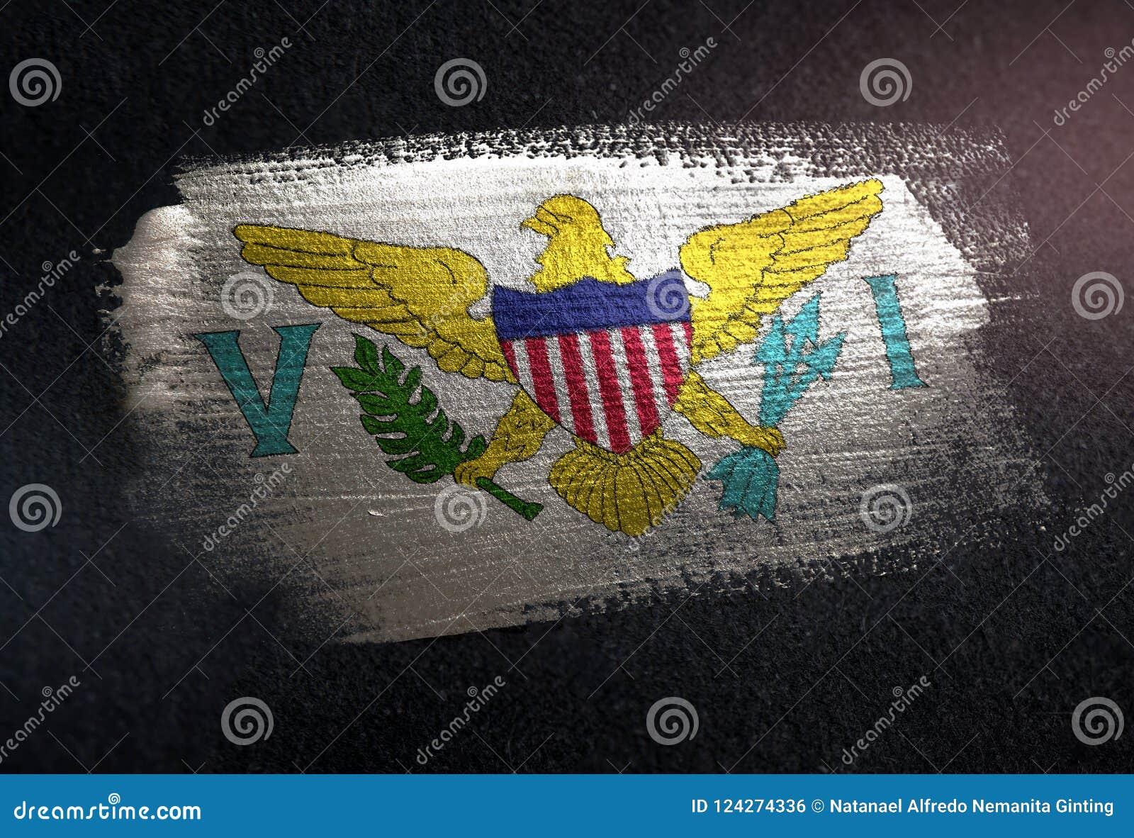 Виргинские Острова (Американские) сигнализируют сделанный из металлической краски o щетки