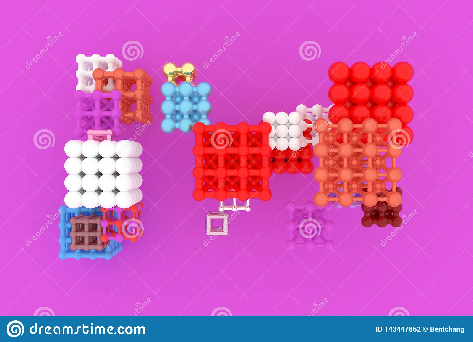 Виртуальное concepture геометрических, молекулы стиля, блокировать квадрат или пирамиды для текстуры дизайна, предпосылки 3d пред