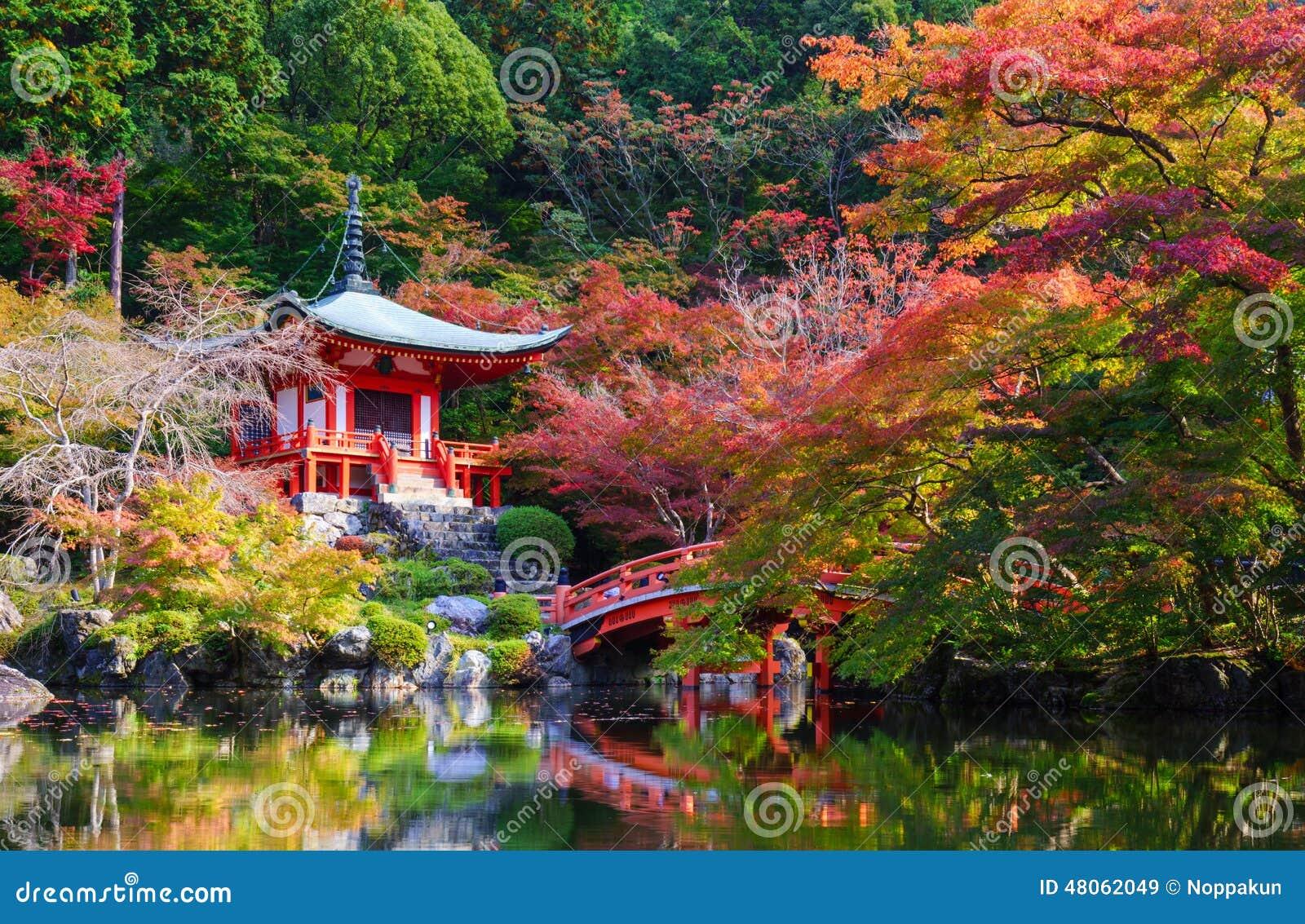 Висок в осени, Киото Daigoji, Япония