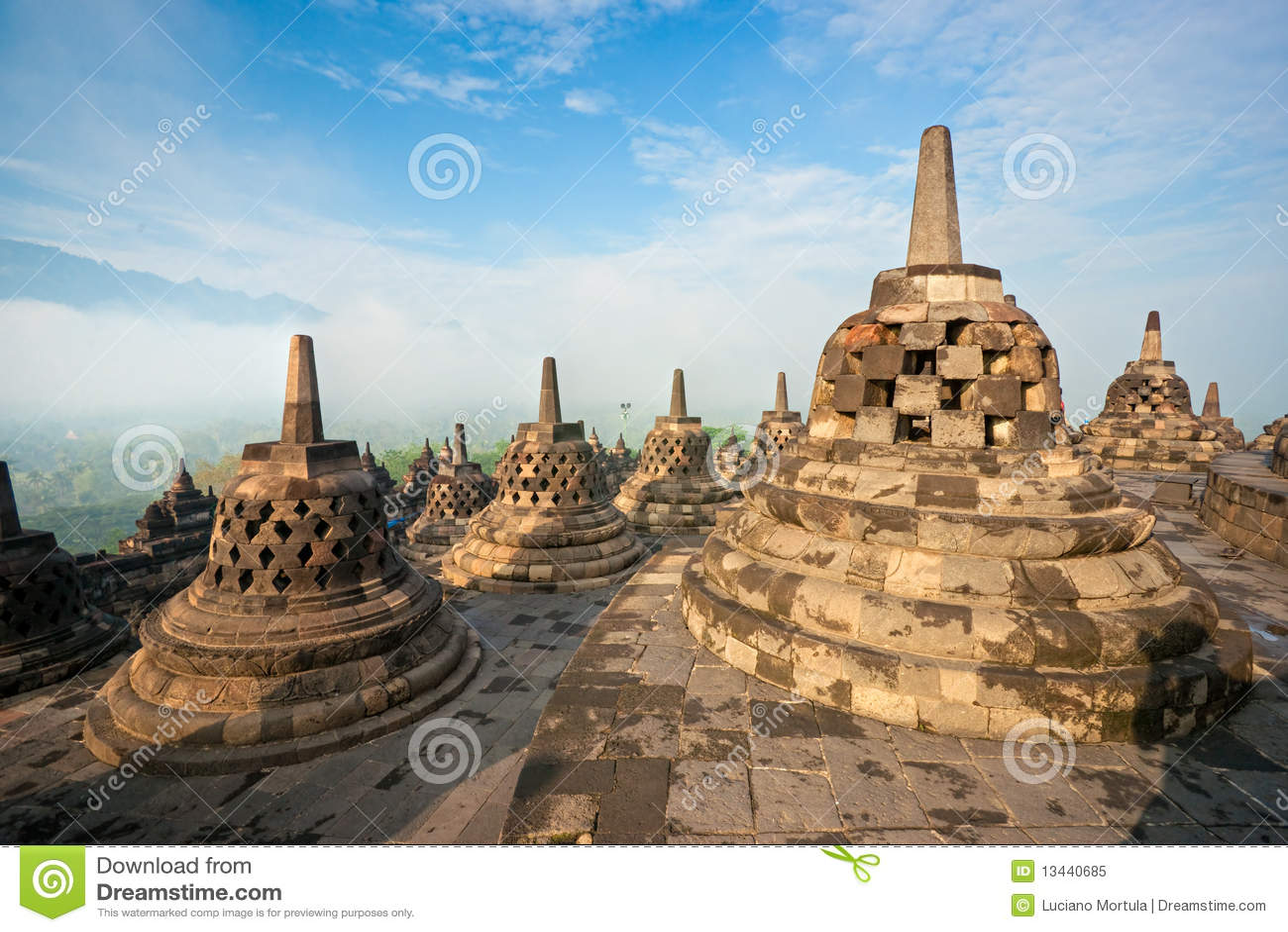 Висок Borobudur, Yogyakarta, Java, Индонесия.