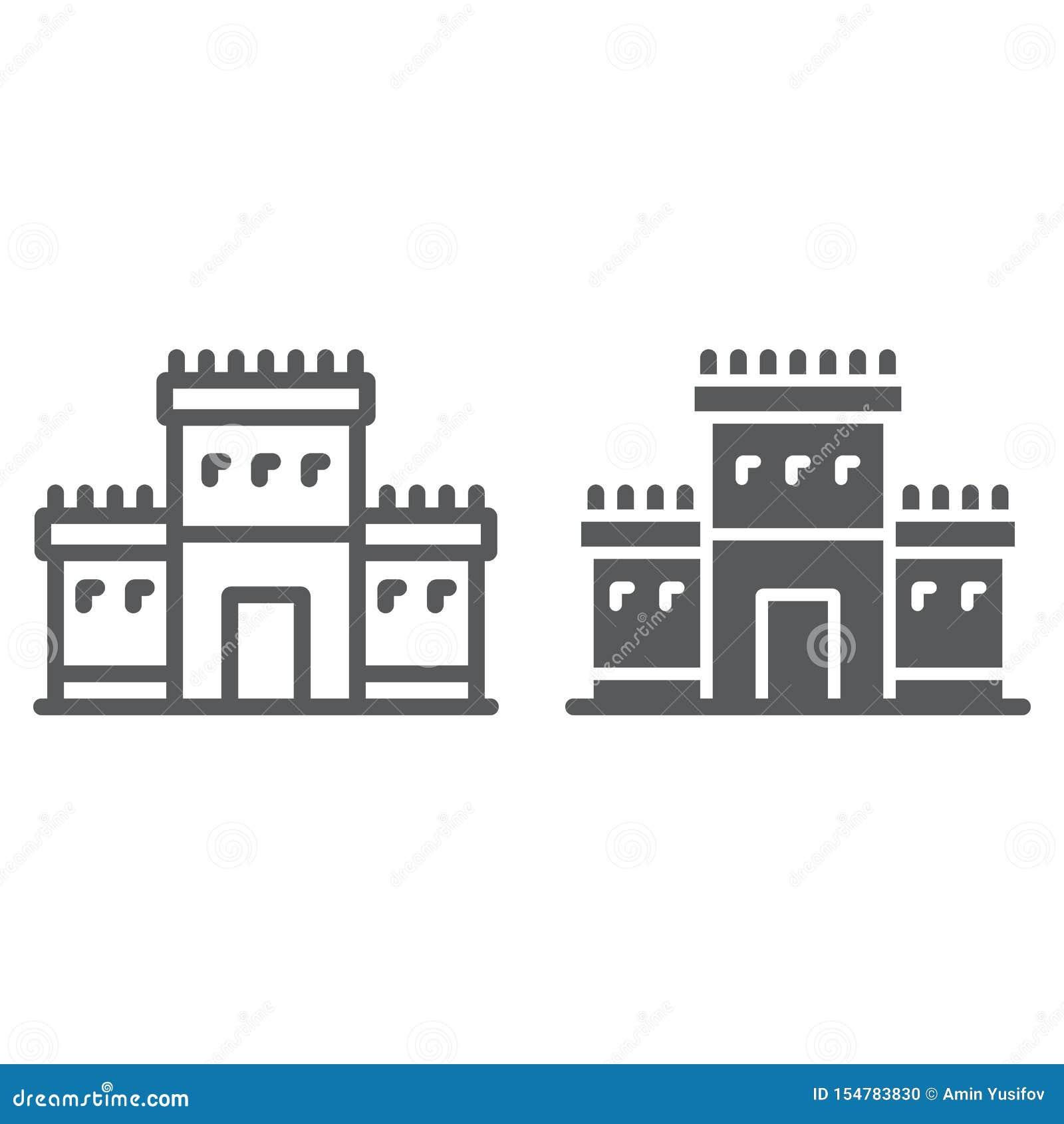 Висок Solomon в линии Иерусалима и значке глифа, вероисповедании и иудее, еврейском знаке tabernacle, векторных графиках, линейно
