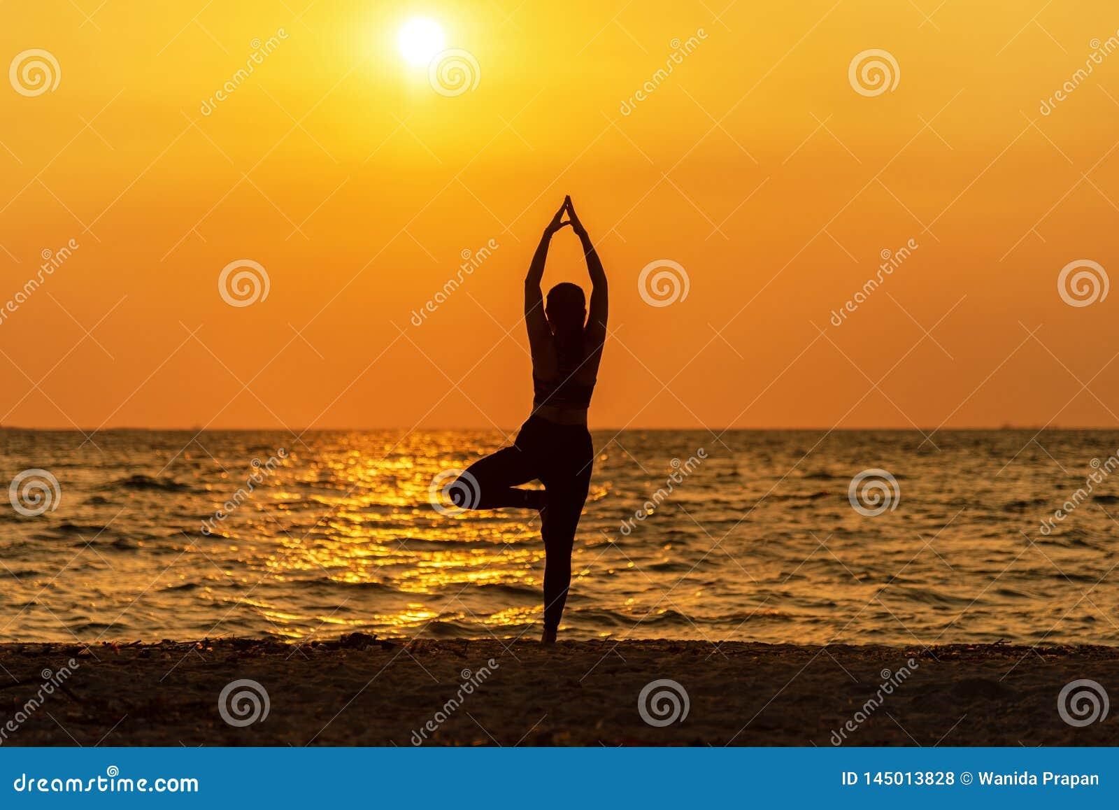 Витальность мира женщины разума образа жизни духа йоги раздумья баланса, outdoors силуэта на восходе солнца моря,