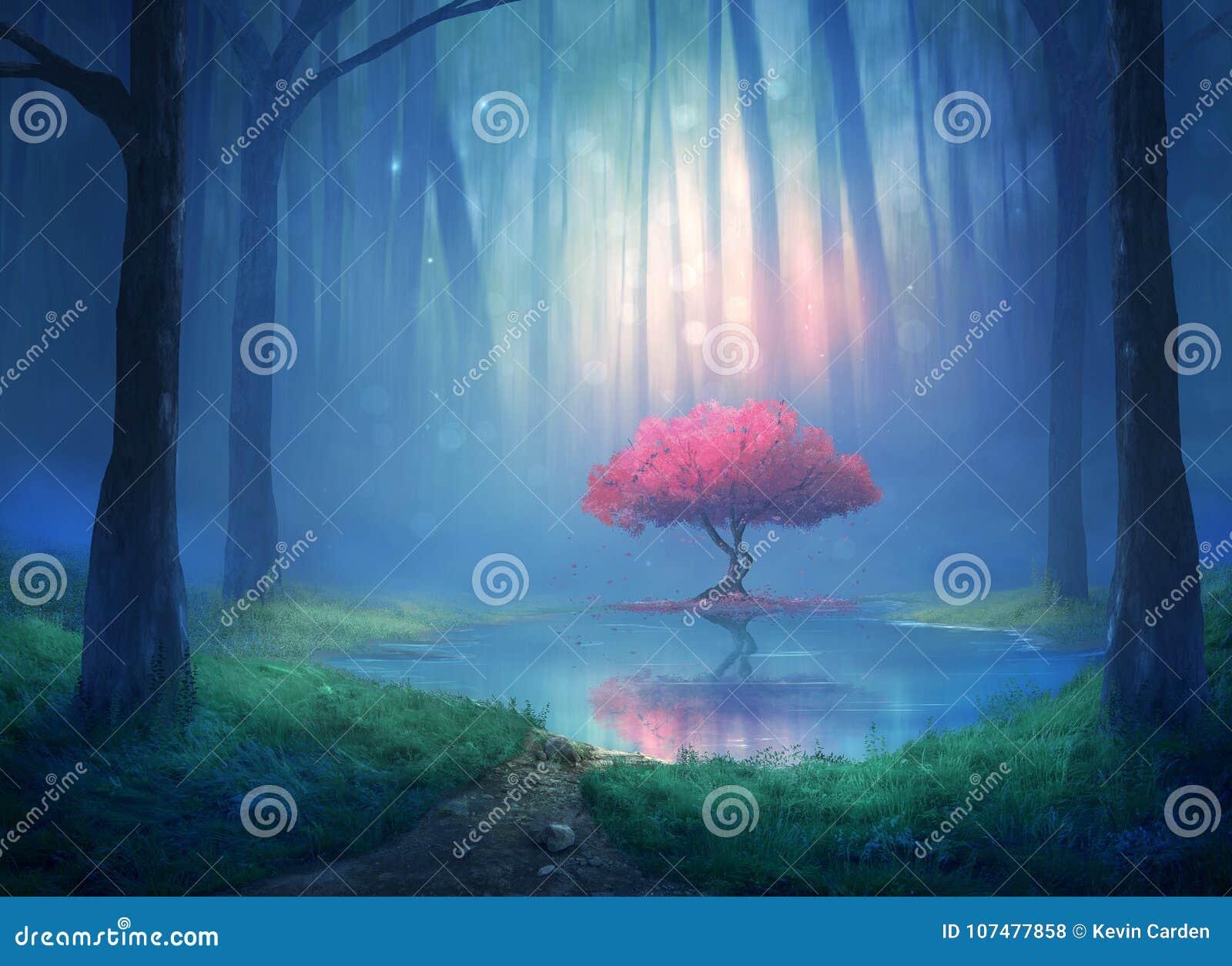Вишневое дерево в лесе
