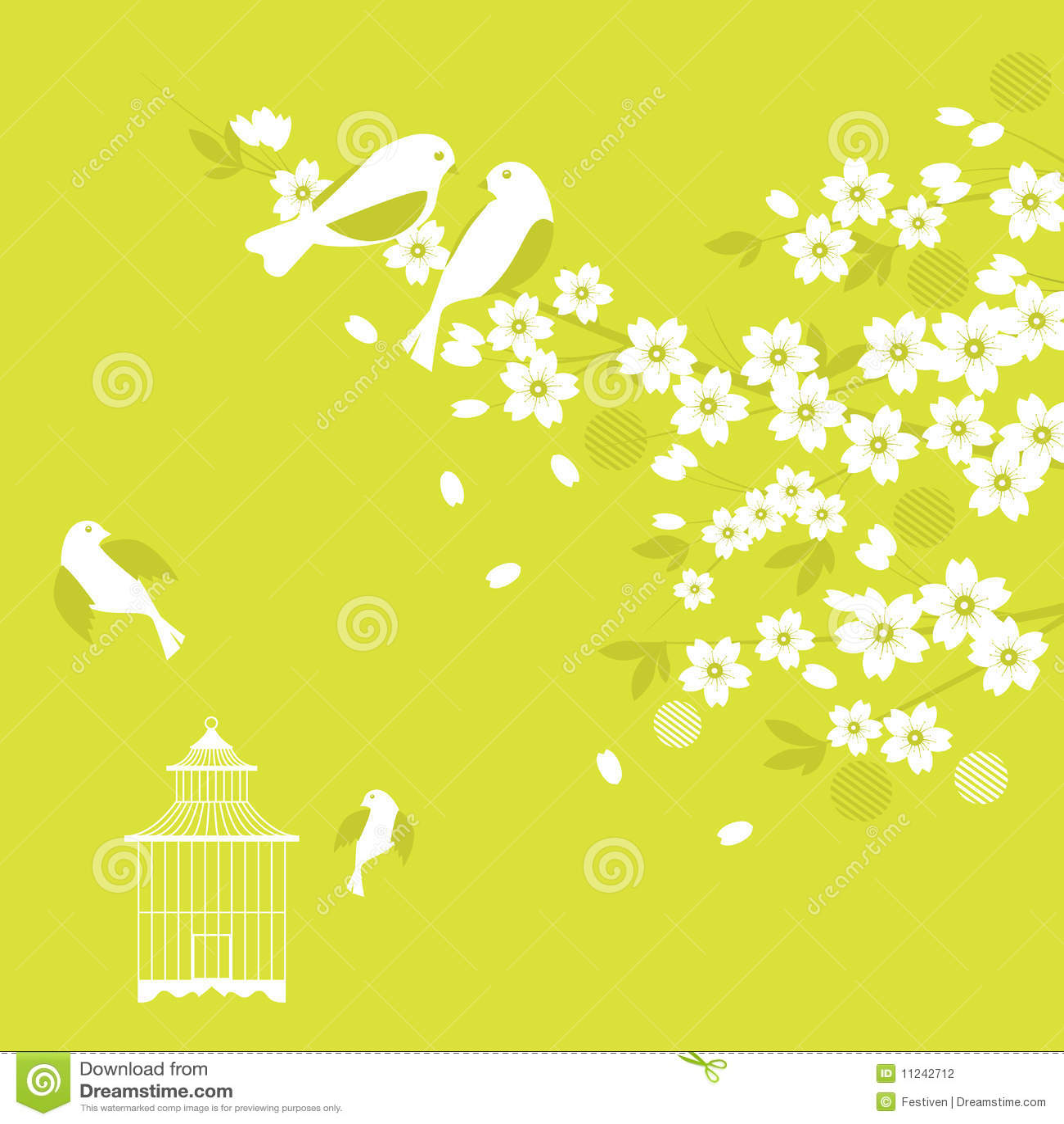 вишня sakura цветения птиц