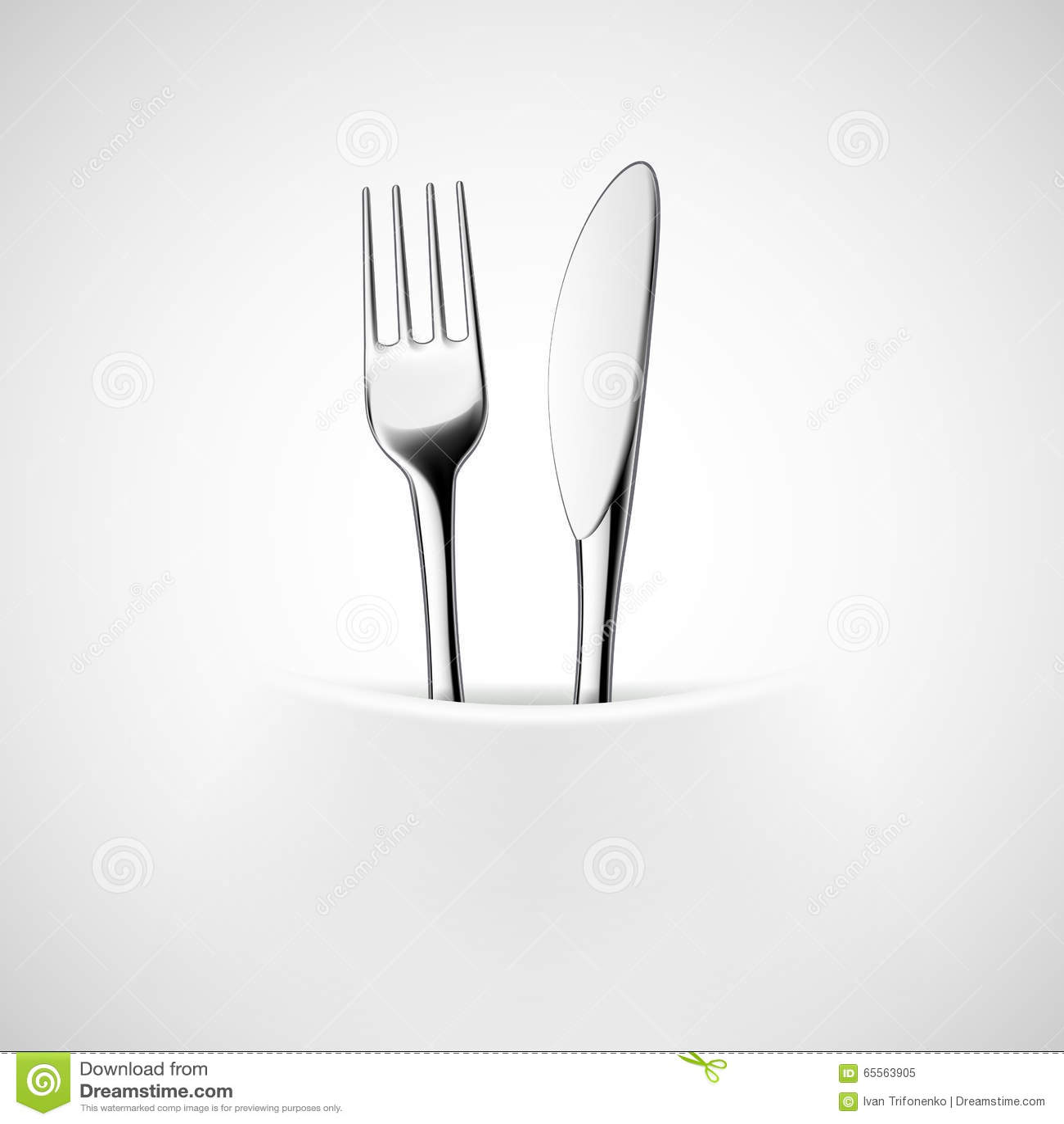 Вилка и нож в салфетке
