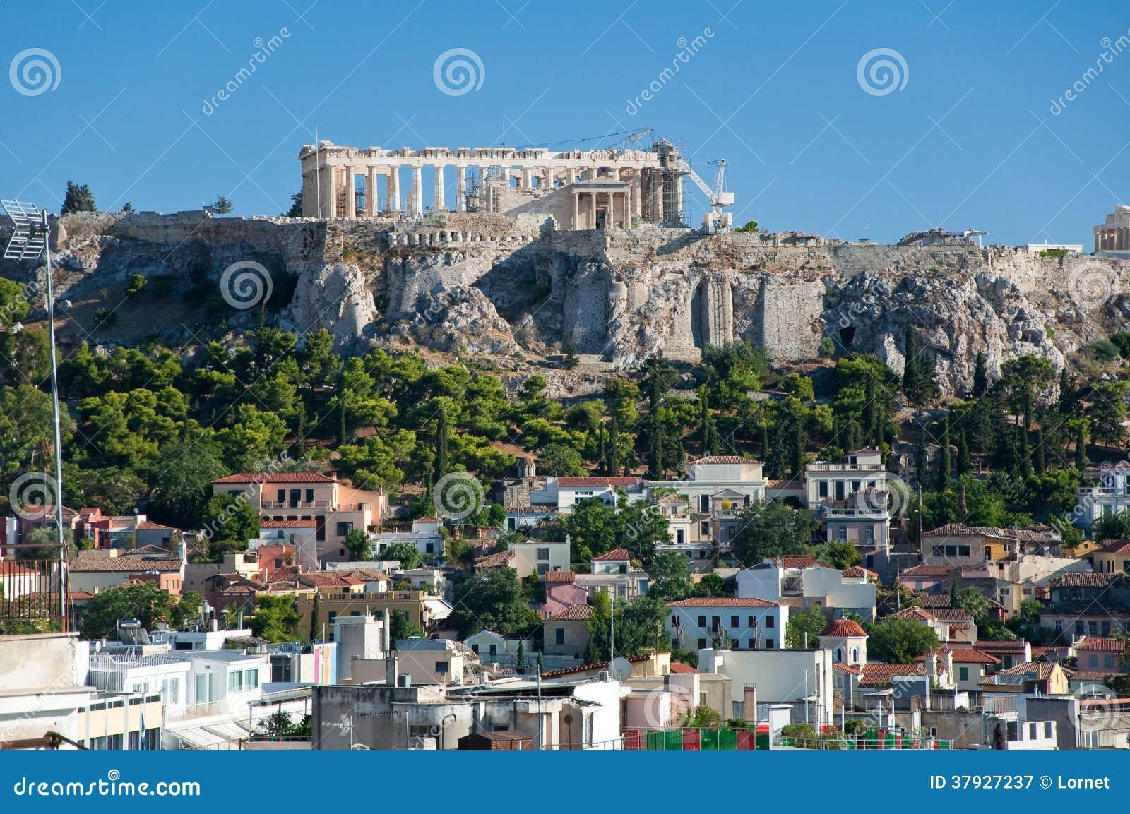 Вид с воздуха акрополя Афин. Греция.