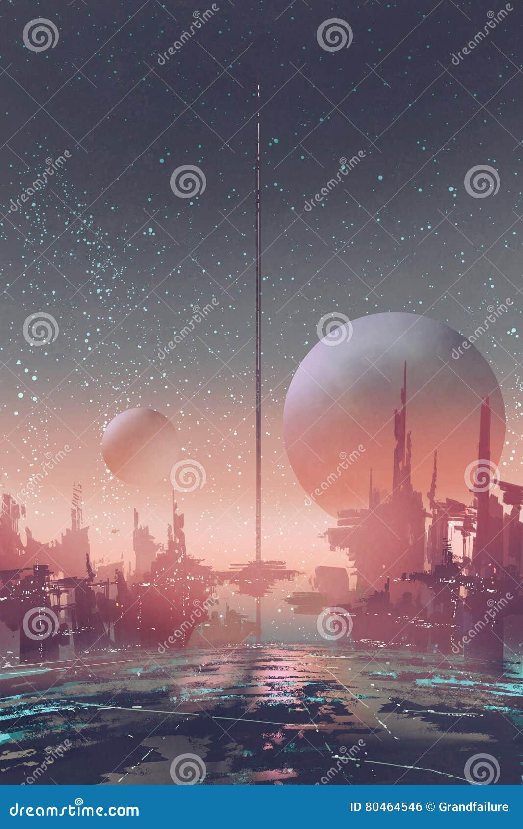 Вид с воздуха города научной фантастики с футуристическими зданиями на планете чужеземца